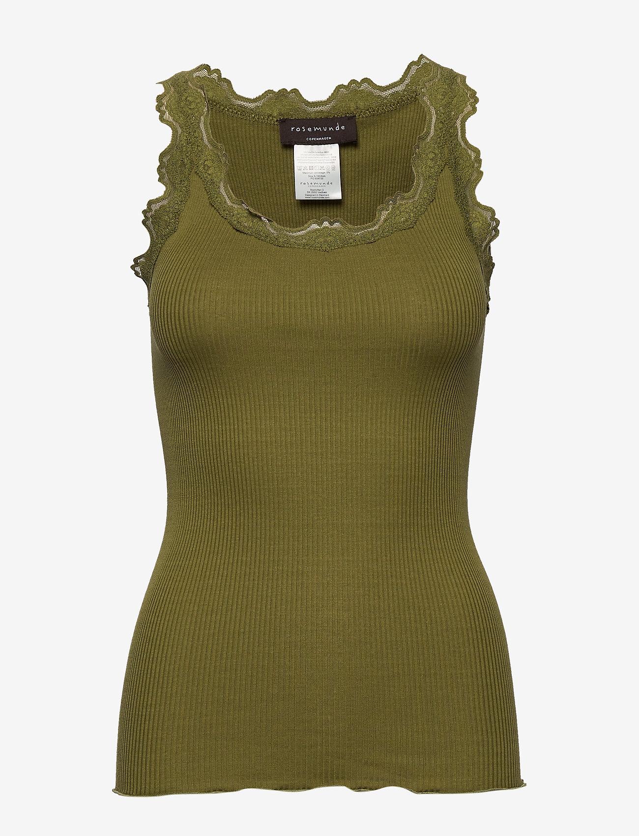 Rosemunde - Silk top regular w/vintage lace - ermeløse topper - leaf green - 0
