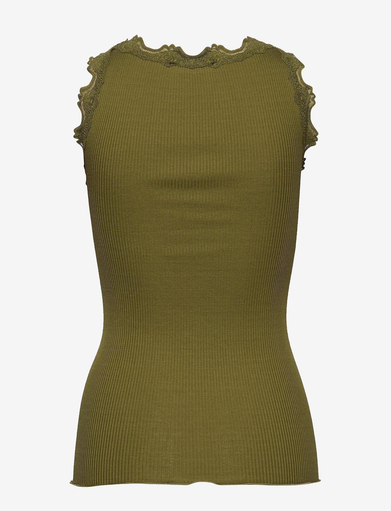Rosemunde - Silk top regular w/vintage lace - ermeløse topper - leaf green - 1