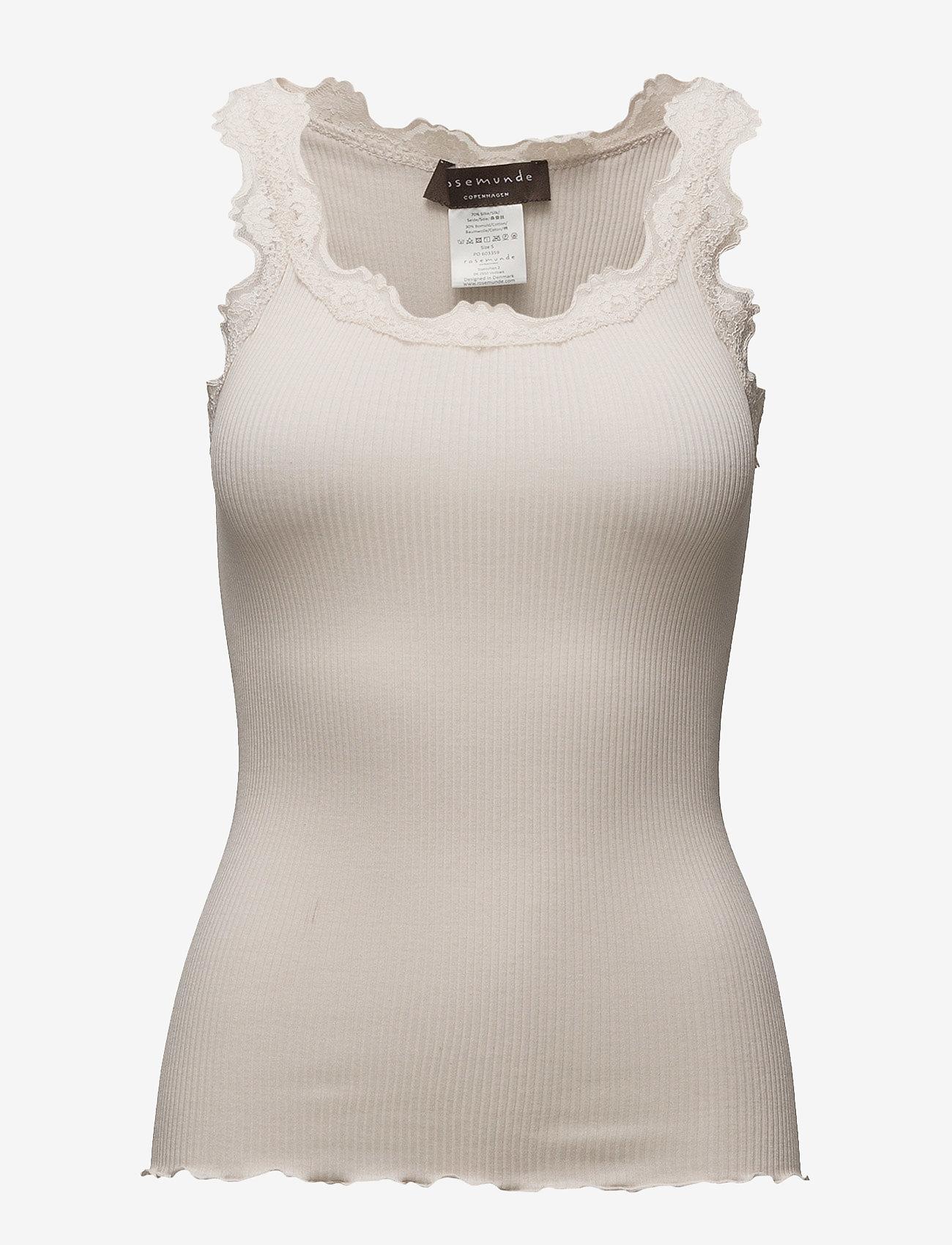 Rosemunde - Silk top regular w/vintage lace - linnen - soft powder