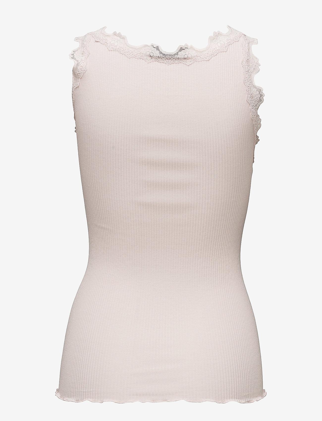 Rosemunde - Silk top regular w/vintage lace - Ärmellose tops - soft rose