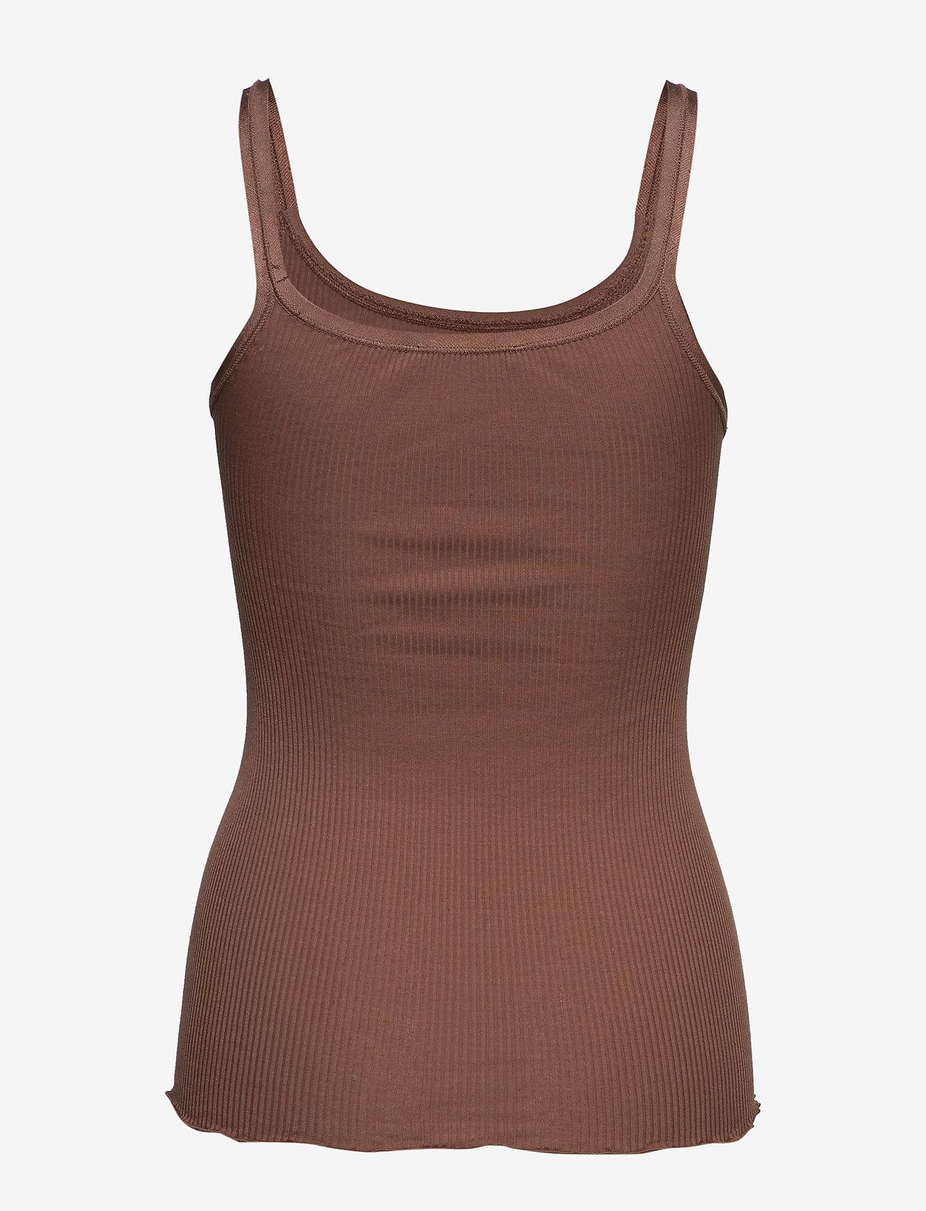 Rosemunde - Silk top w/ elastic band reg, lengt - sleeveless tops - acorn