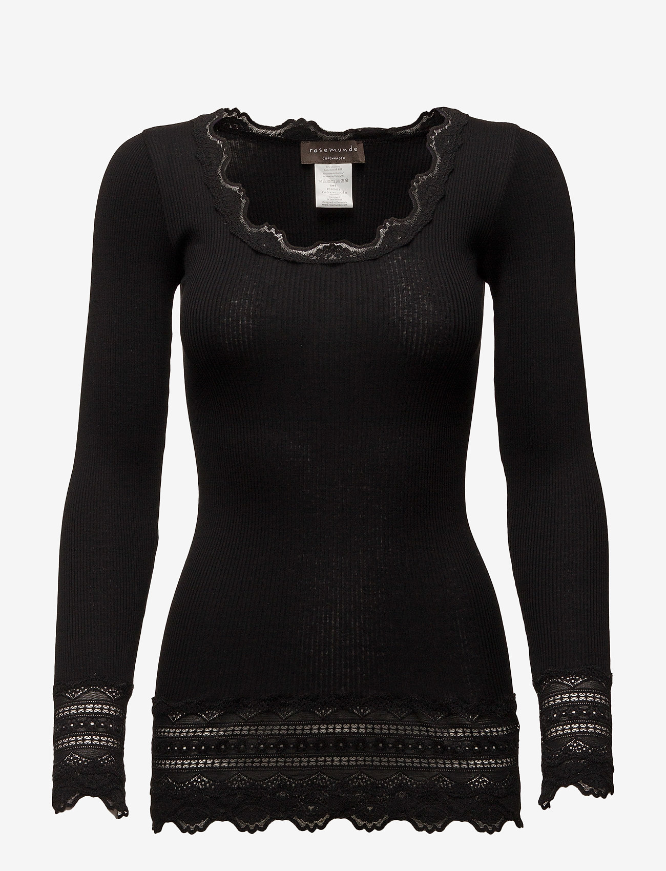 Rosemunde - Silk t-shirt medium ls w/wide lace - langermede topper - black - 0