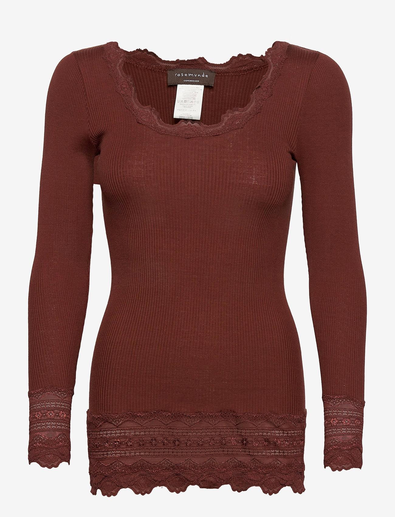 Rosemunde - Silk t-shirt medium ls w/wide lace - langermede topper - chocolate fondant - 0