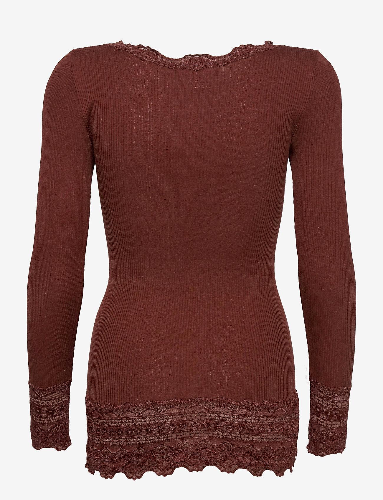 Rosemunde - Silk t-shirt medium ls w/wide lace - langermede topper - chocolate fondant - 1