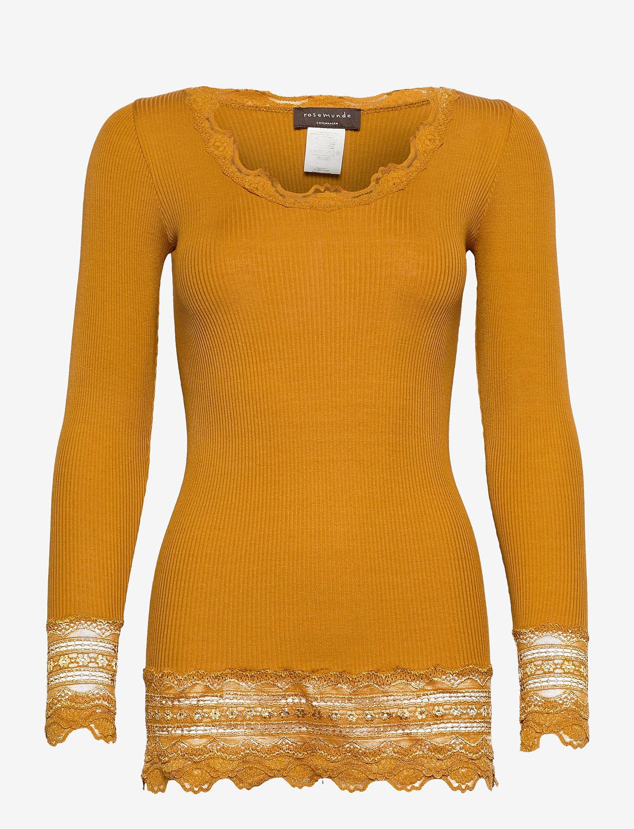 Rosemunde - Silk t-shirt medium ls w/wide lace - langermede topper - golden mustard - 0