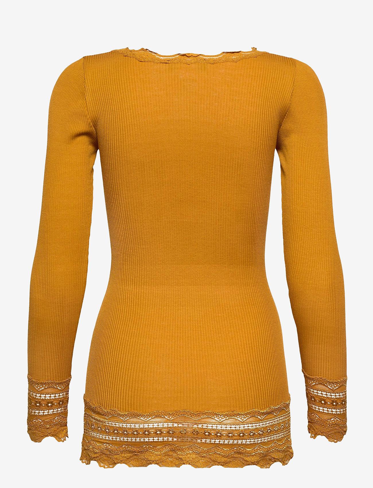 Rosemunde - Silk t-shirt medium ls w/wide lace - langermede topper - golden mustard - 1