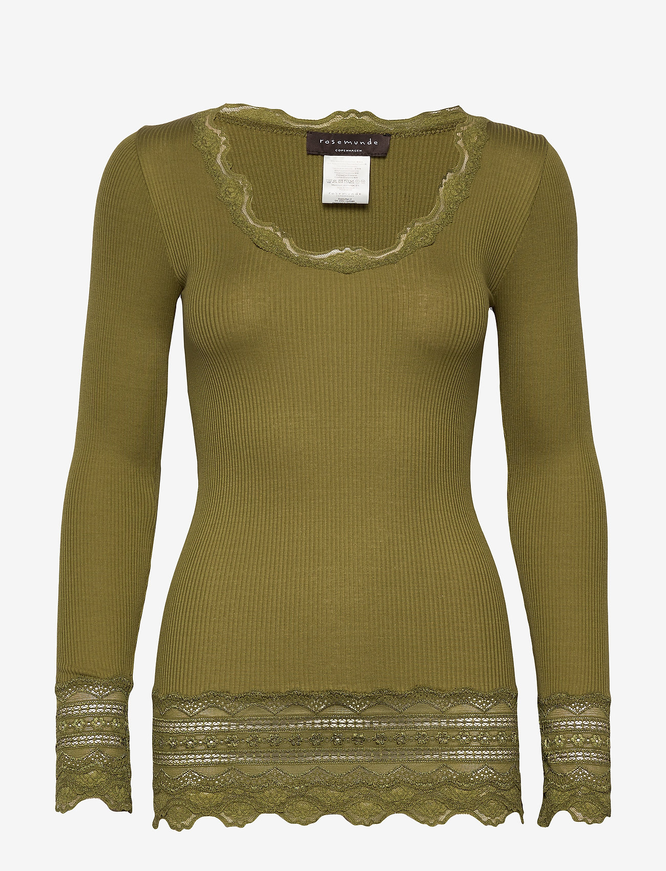Rosemunde - Silk t-shirt medium ls w/wide lace - langermede topper - leaf green - 0