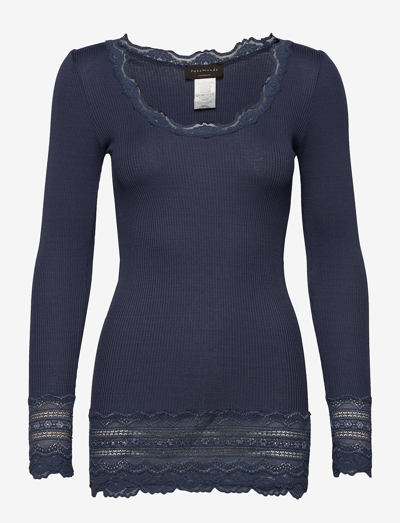 Rosemunde - Silk t-shirt medium ls w/wide lace - langermede topper - true navy - 0