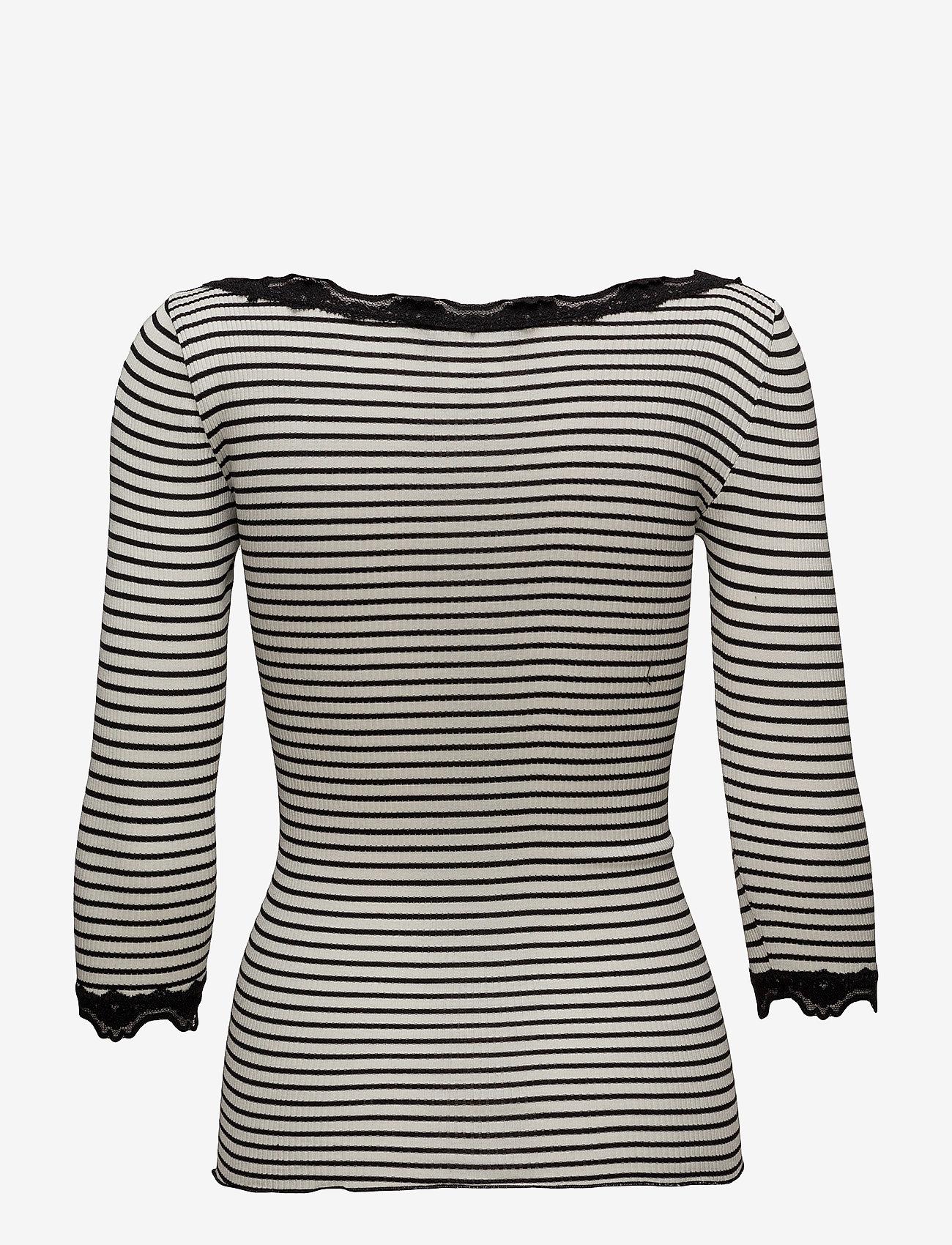 Rosemunde - Silk t-shirt boat neck regular w/vi - długi rękaw - ivory black stripe