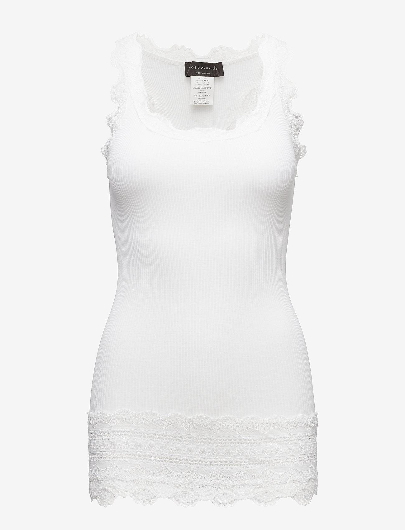Rosemunde - Silk top medium w/wide lace - ermeløse topper - new white - 0