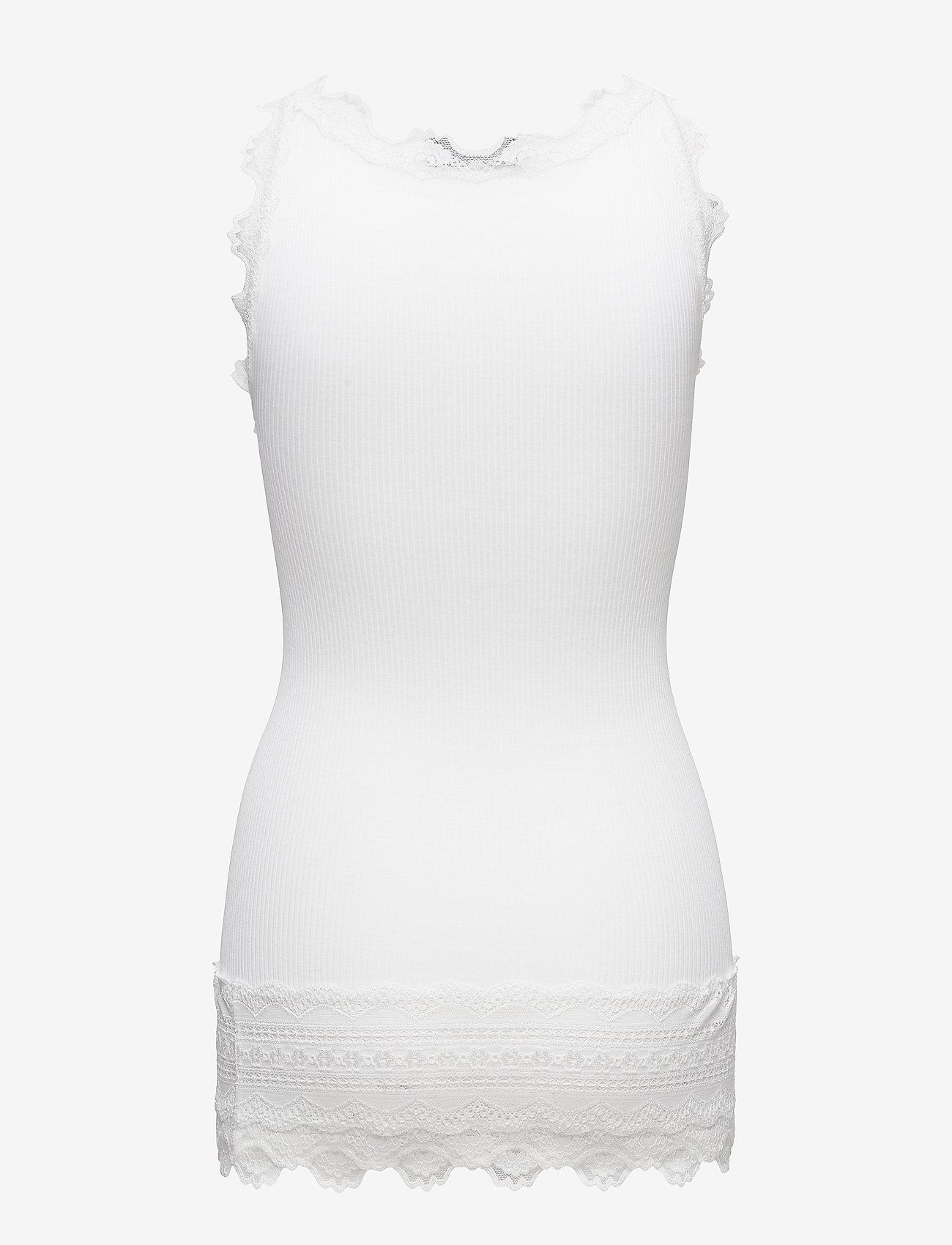 Rosemunde - Silk top medium w/wide lace - ermeløse topper - new white - 1