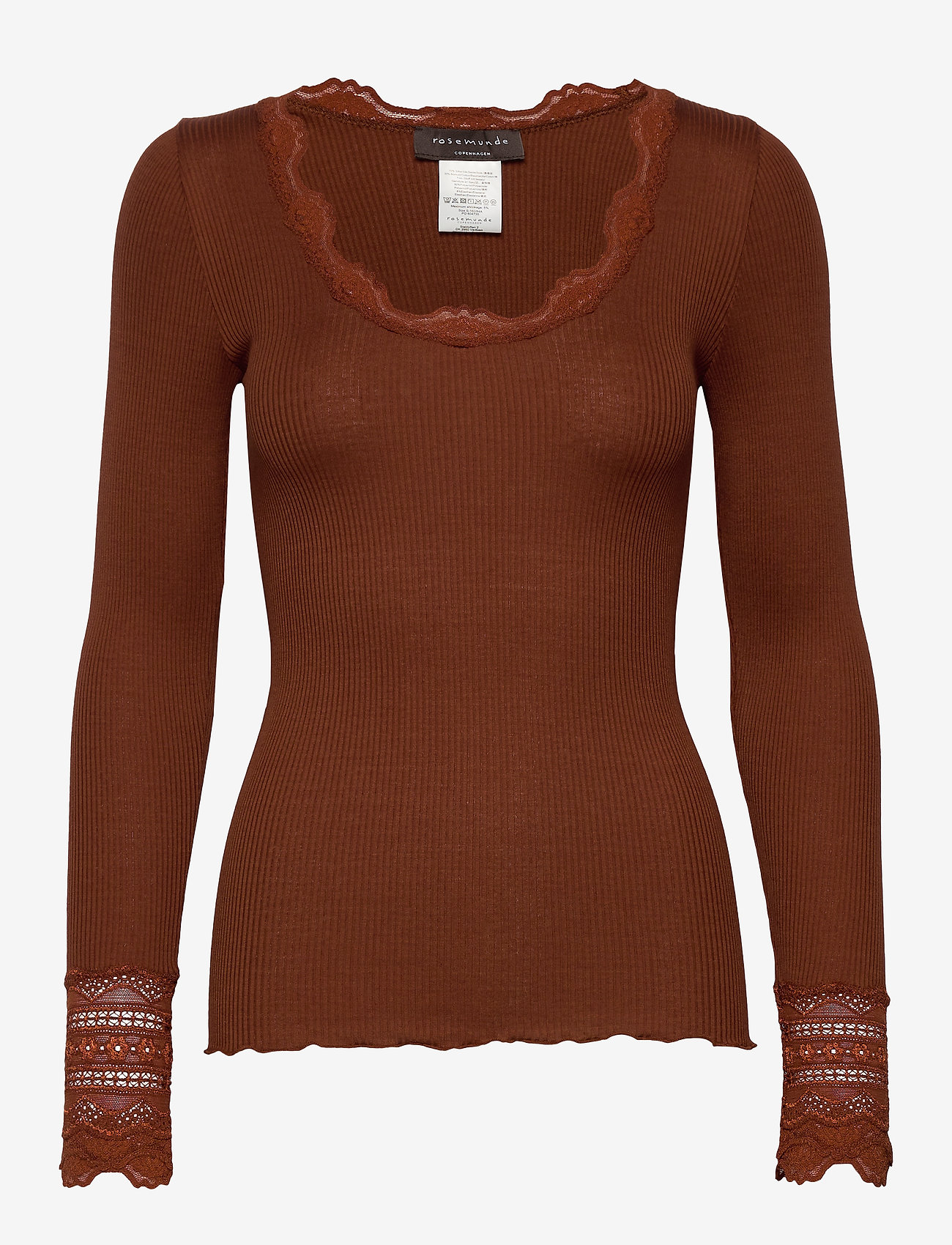 Rosemunde - Silk t-shirt regular ls w/wide lace - long-sleeved tops - amber brown - 0