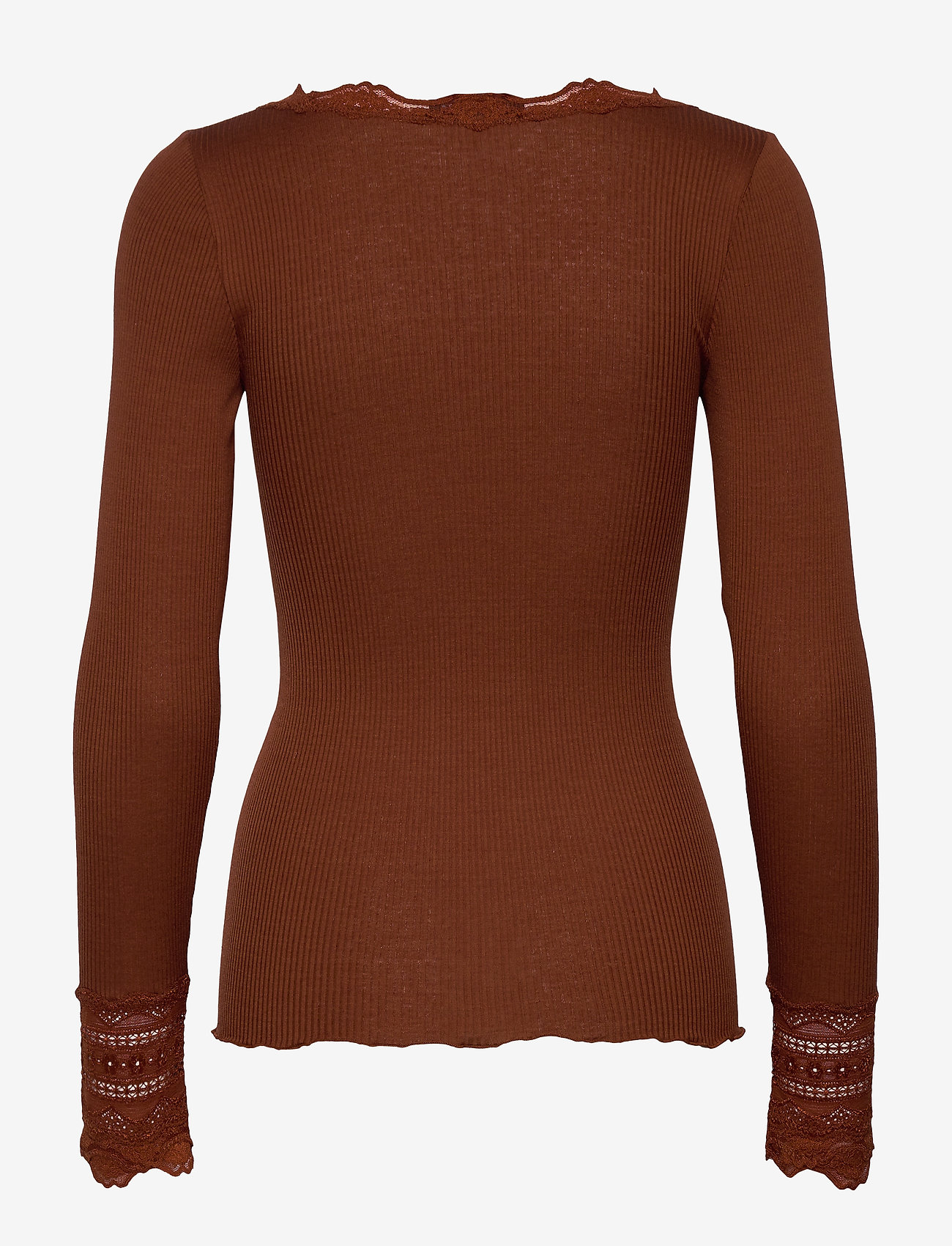 Rosemunde - Silk t-shirt regular ls w/wide lace - langærmede toppe - amber brown - 1