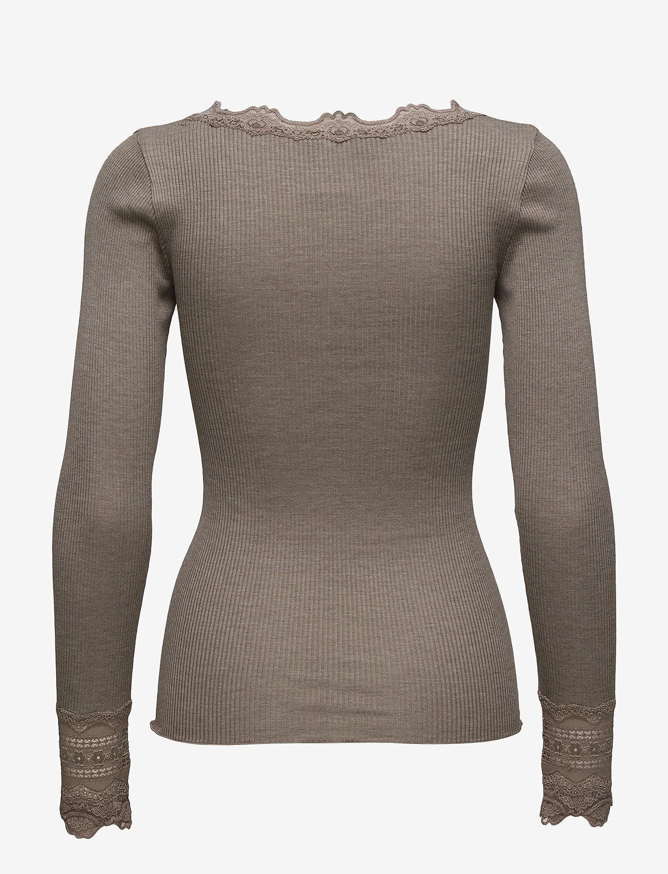 Rosemunde - Silk t-shirt regular ls w/wide lace - długi rękaw - brown melange