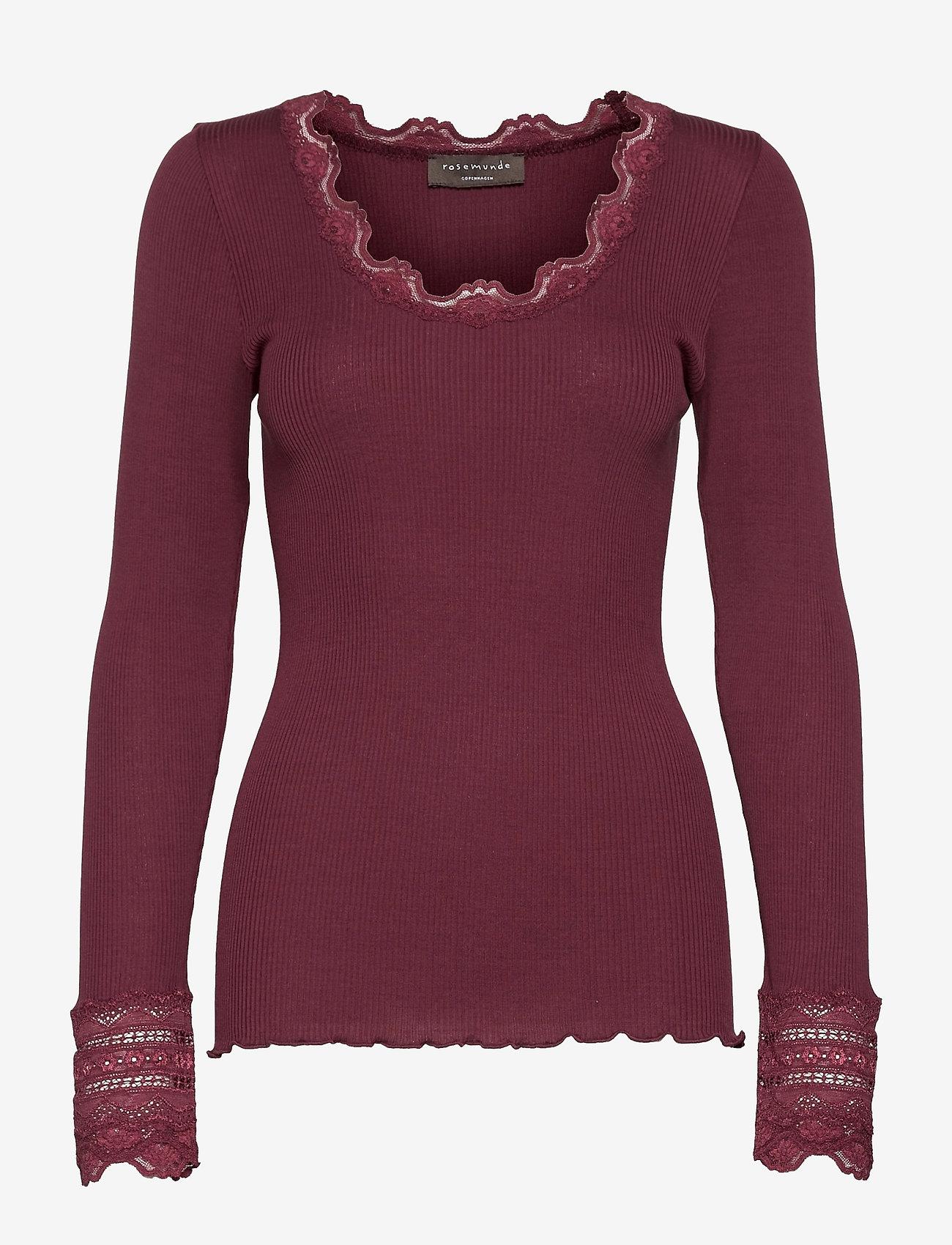 Rosemunde - Silk t-shirt regular ls w/wide lace - pitkähihaiset t-paidat - merlot - 0