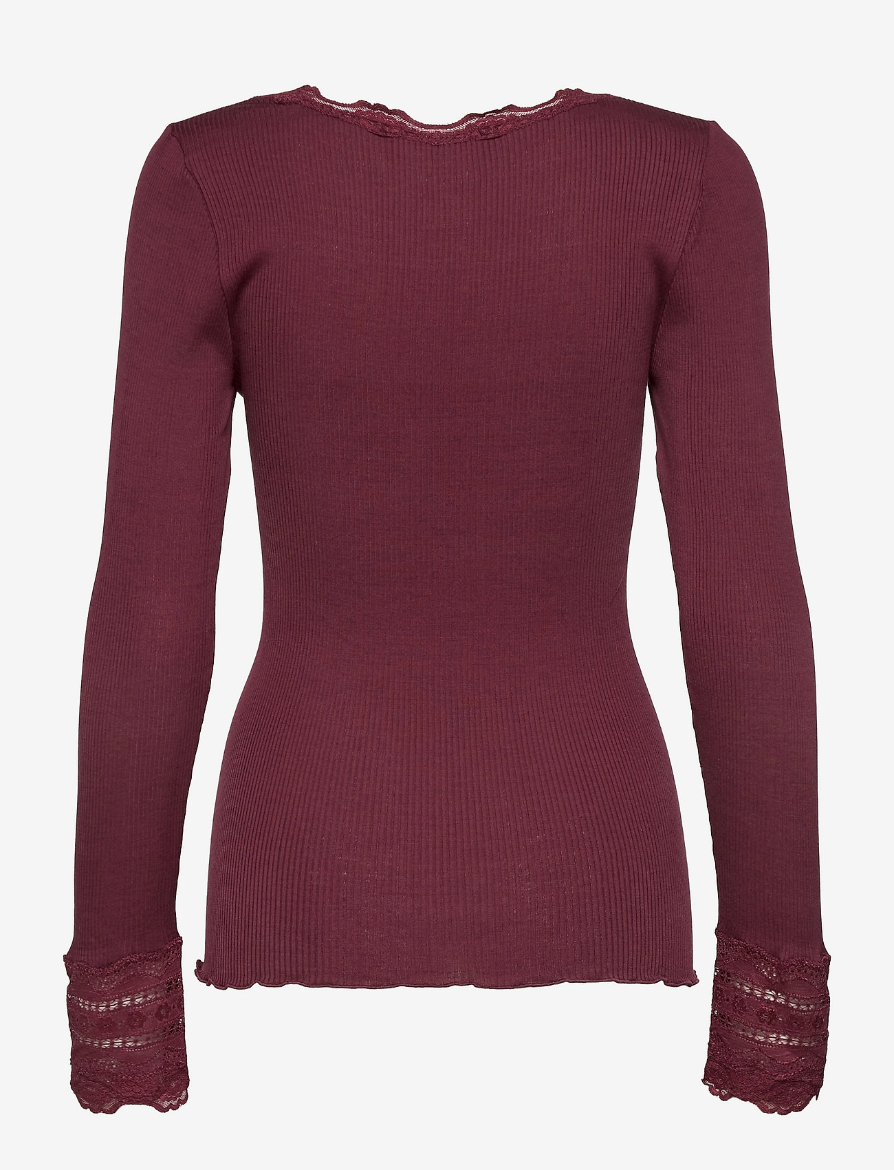 Rosemunde - Silk t-shirt regular ls w/wide lace - pitkähihaiset t-paidat - merlot - 1