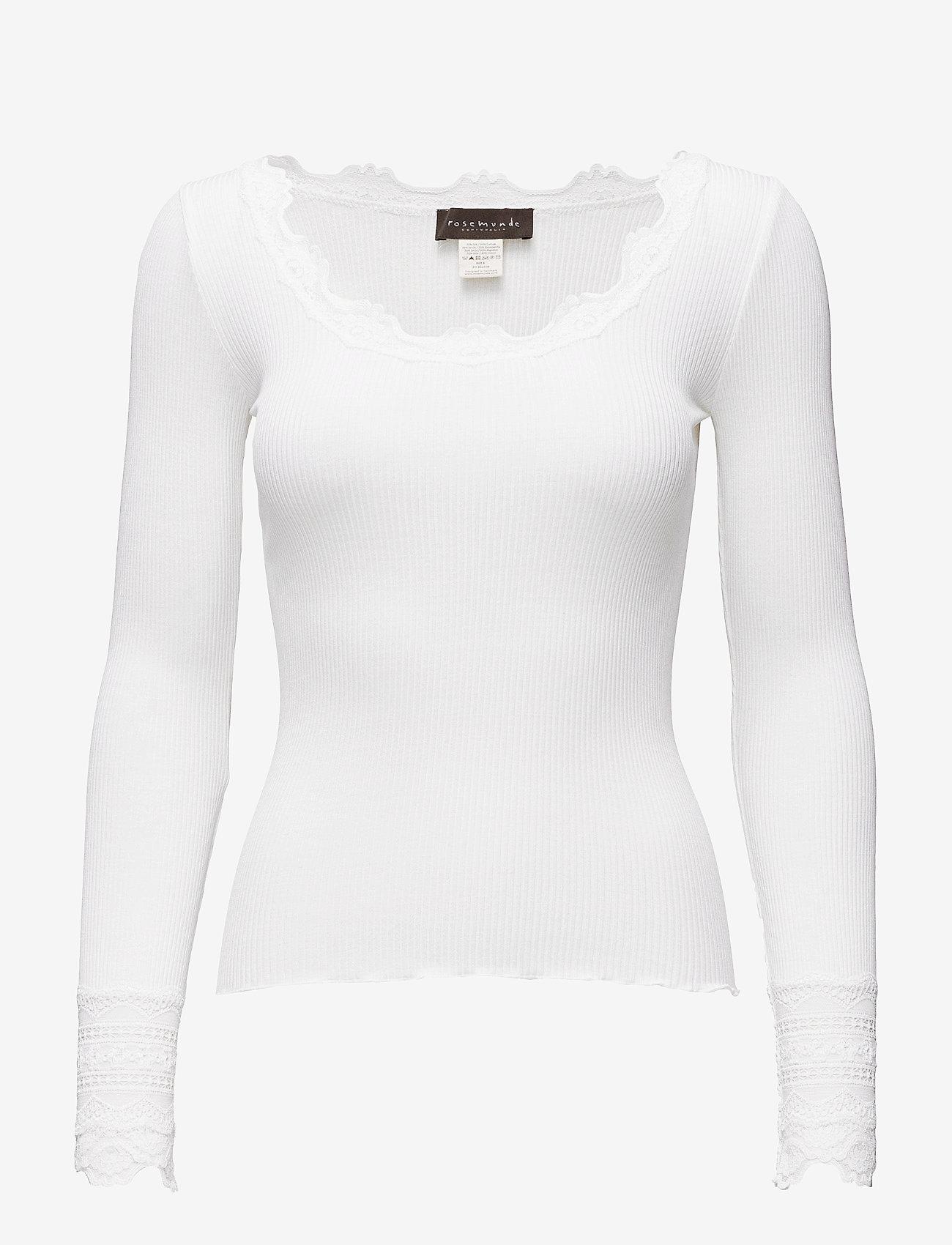 Rosemunde - Silk t-shirt w/ lace - langermede topper - new white - 0