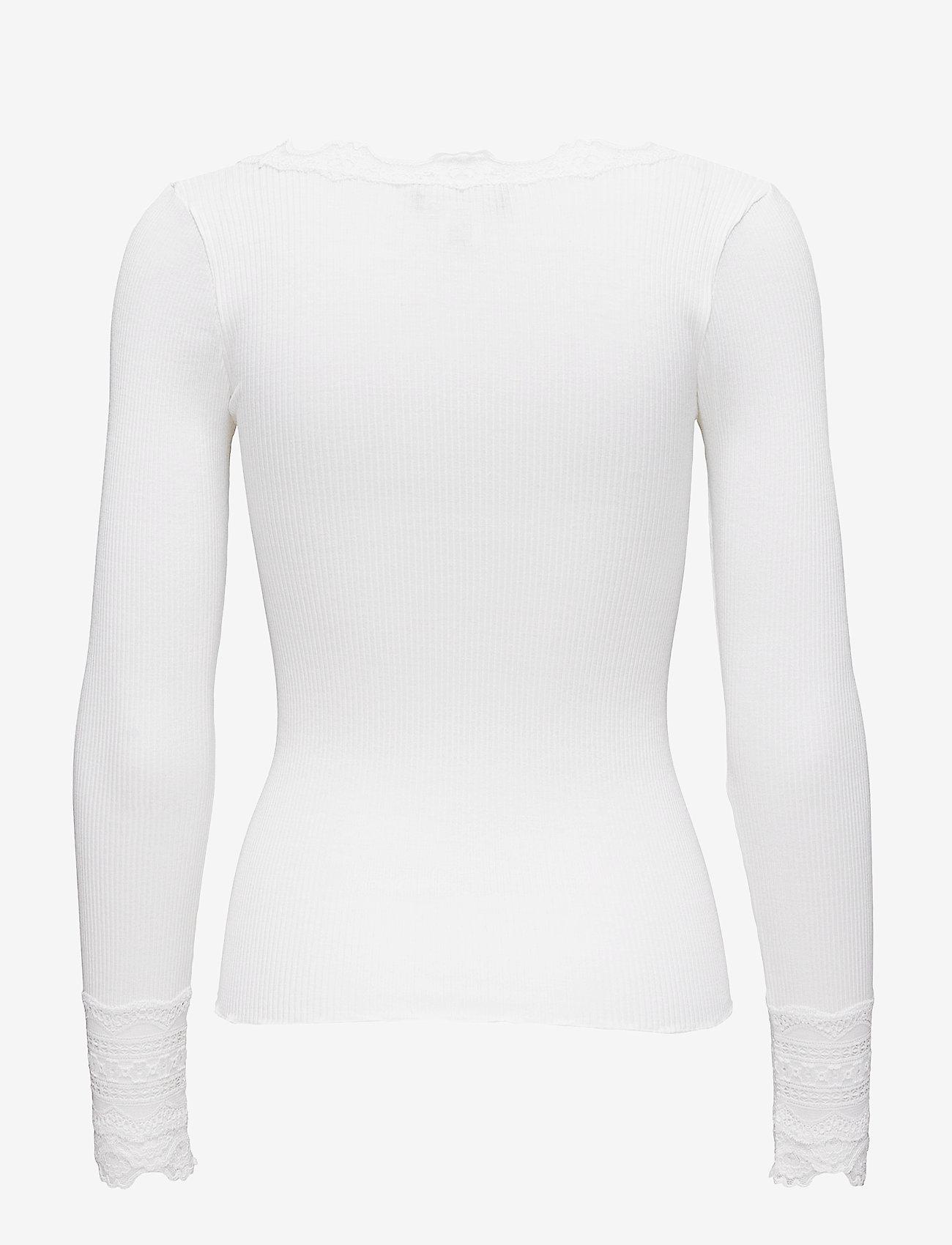 Rosemunde - Silk t-shirt w/ lace - langermede topper - new white - 1