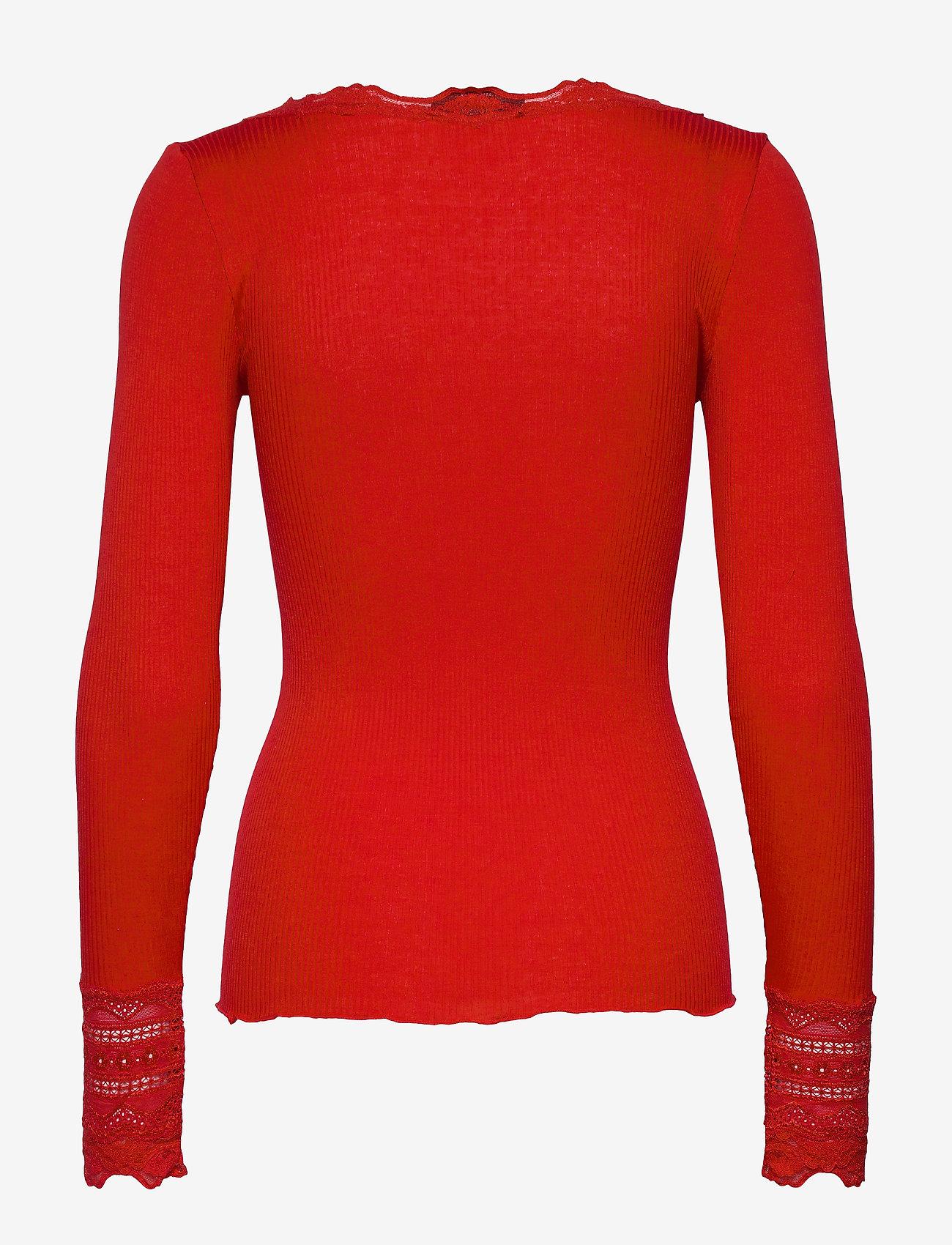 Rosemunde - Silk t-shirt regular ls w/wide lace - topy z długimi rękawami - spicy red - 1