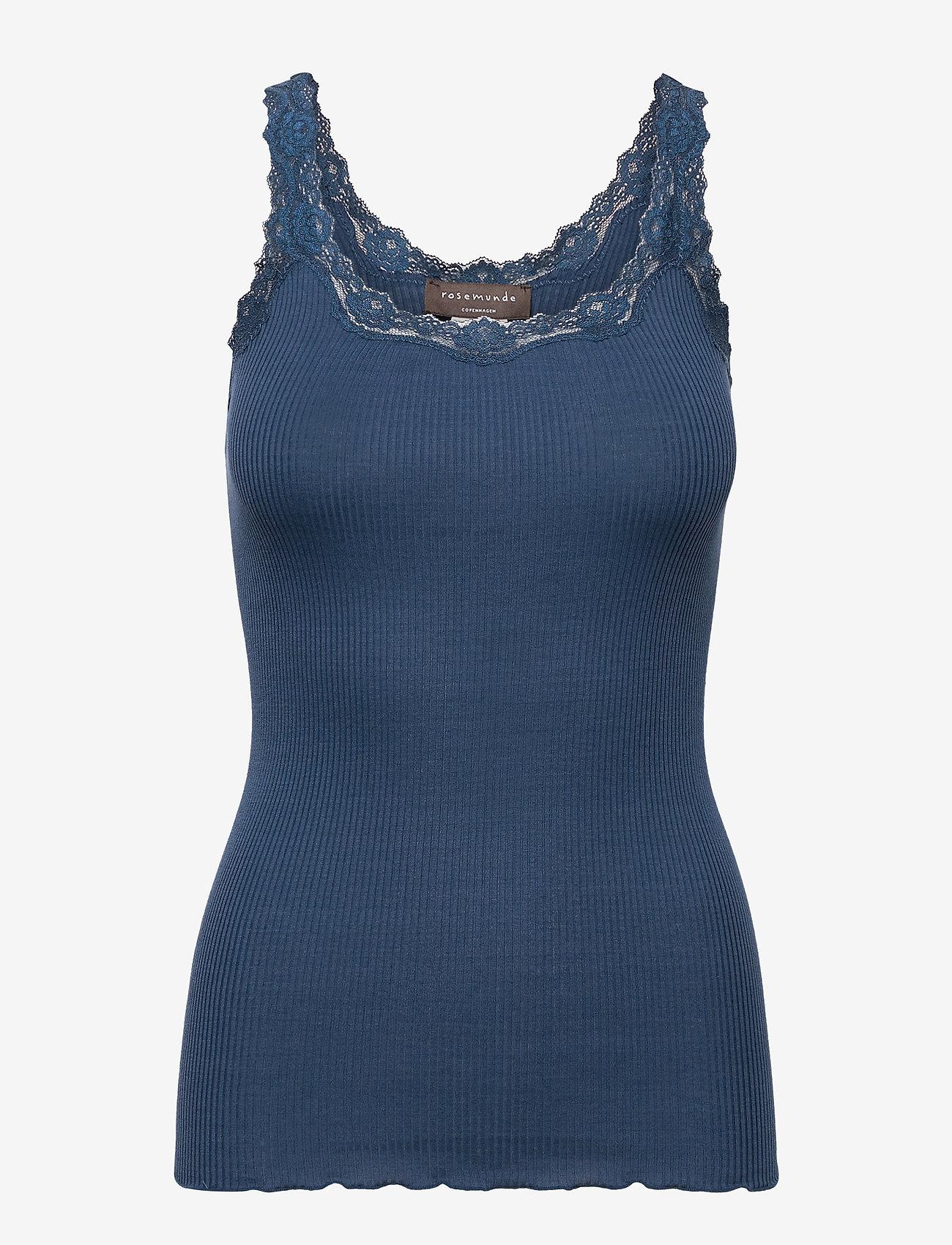 Rosemunde - Silk top w/ lace - ermeløse topper - denim blue - 0