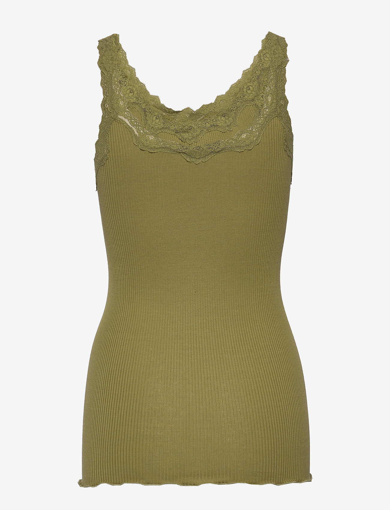 Rosemunde - Silk top regular w/rev vintage lace - sleeveless tops - leaf green - 1