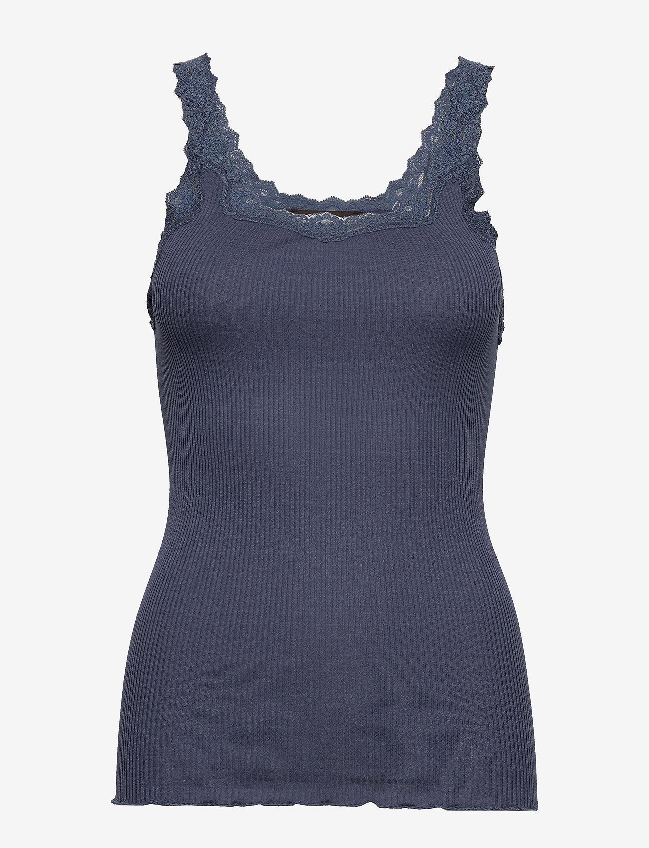 Rosemunde - Silk top regular w/rev vintage lace - hauts sans manches - true navy