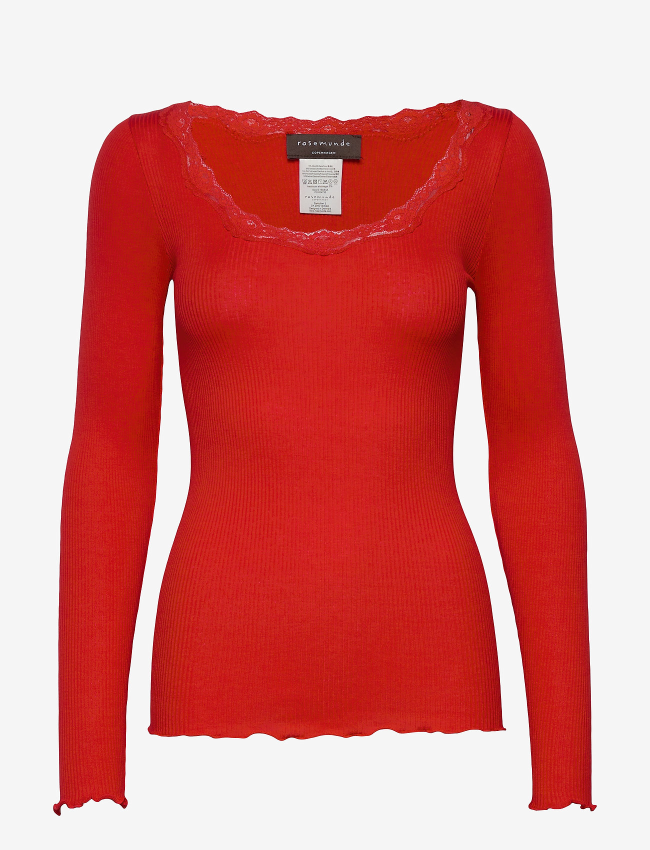 Rosemunde - Silk t-shirt regular ls w/rev vinta - lange mouwen - spicy red