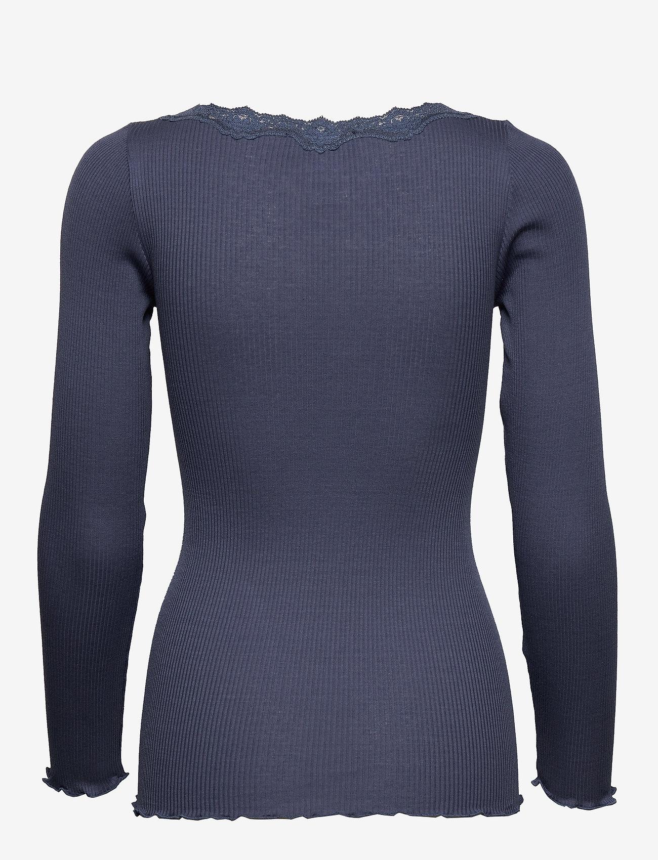 Rosemunde - Silk t-shirt regular ls w/rev vinta - długi rękaw - true navy