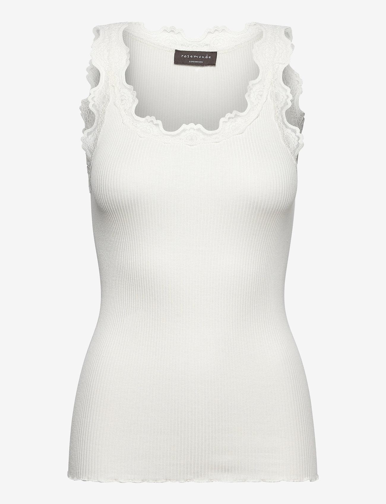 Rosemunde - Silk top regular w/vintage lace - linnen - ivory - 0