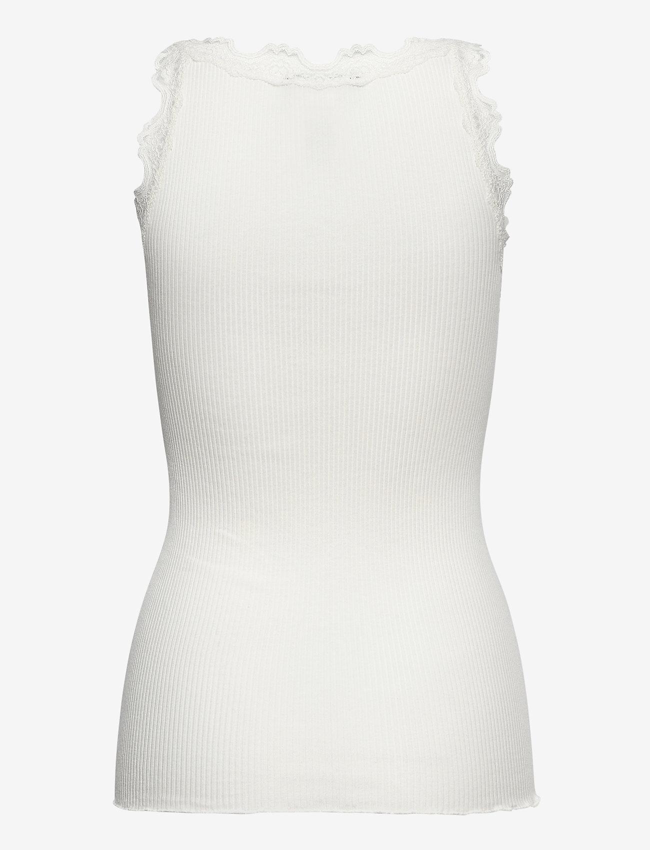 Rosemunde - Silk top regular w/vintage lace - linnen - ivory - 1