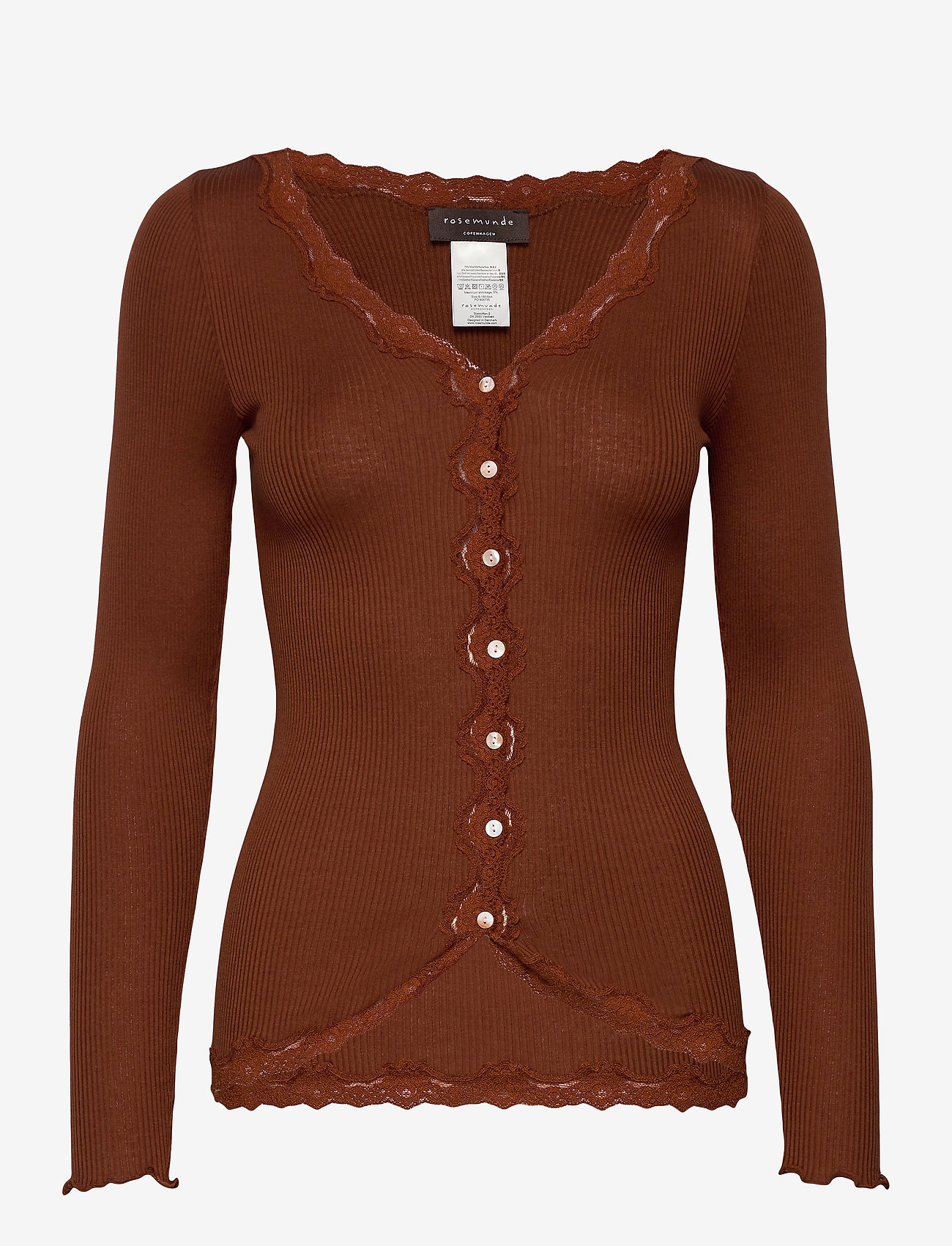 Rosemunde - Silk cardigan regular ls w/rev vint - cardigans - amber brown - 0