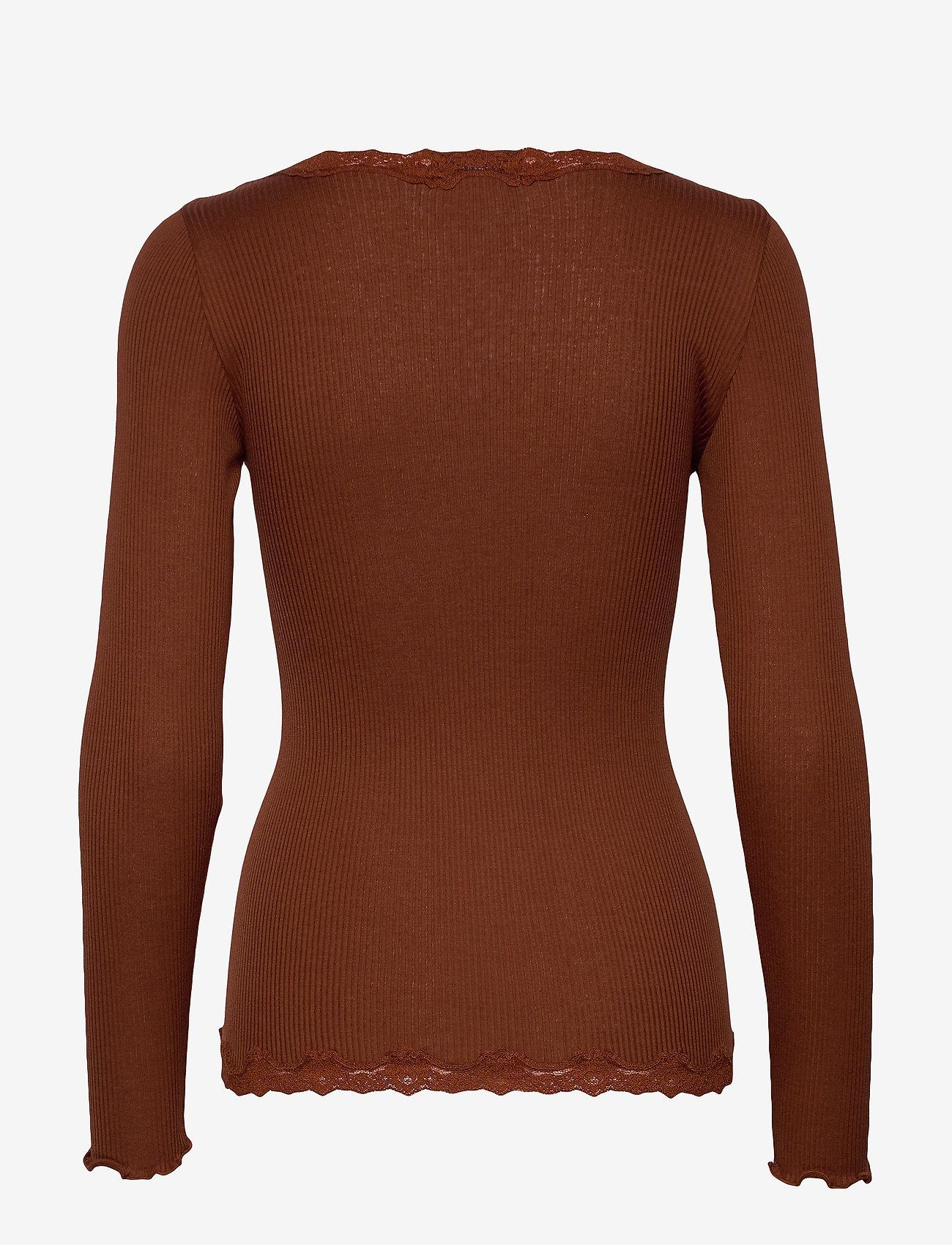 Rosemunde - Silk cardigan regular ls w/rev vint - cardigans - amber brown - 1