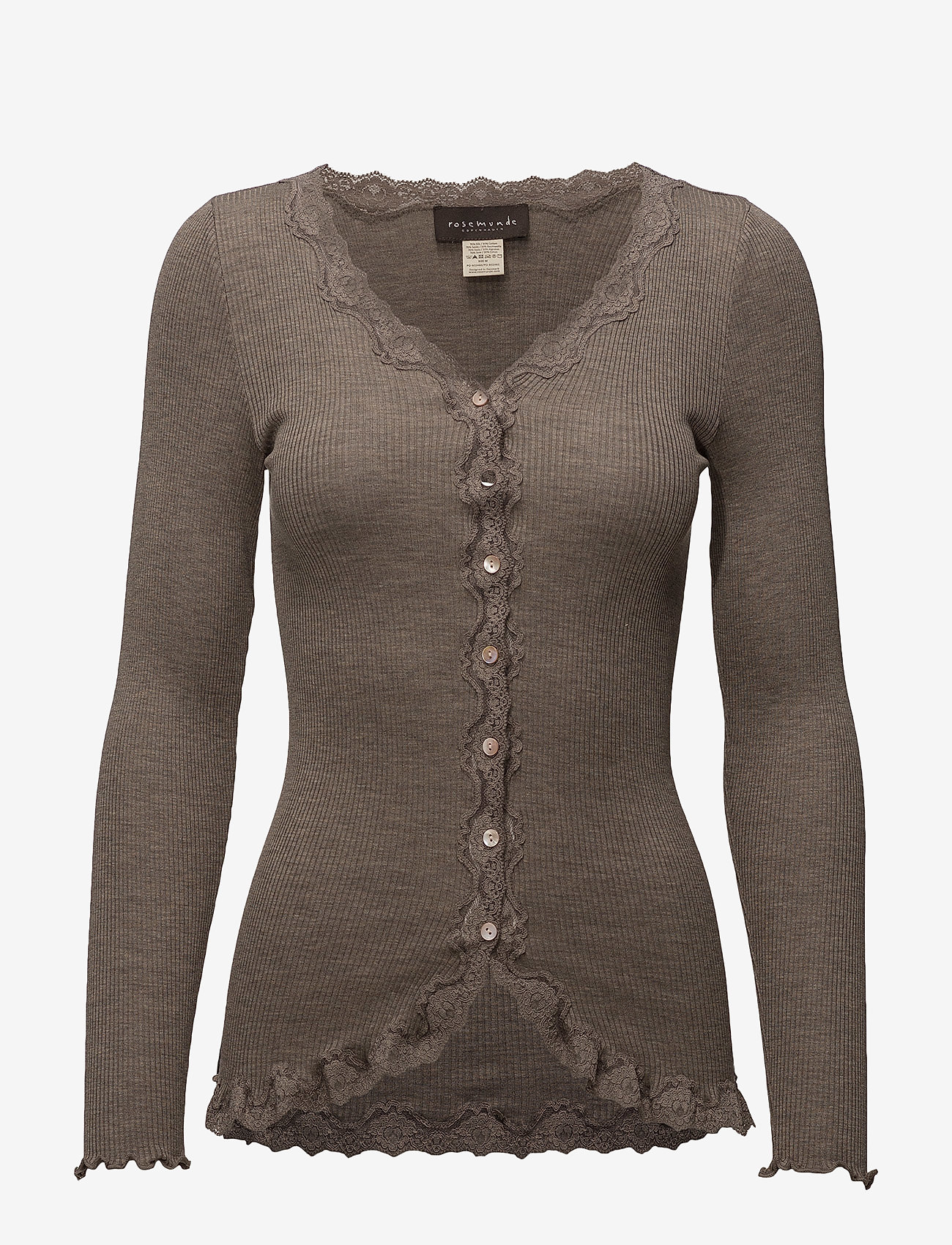 Rosemunde - Silk cardigan ls w/vintage lace - koftor - brown melange - 0