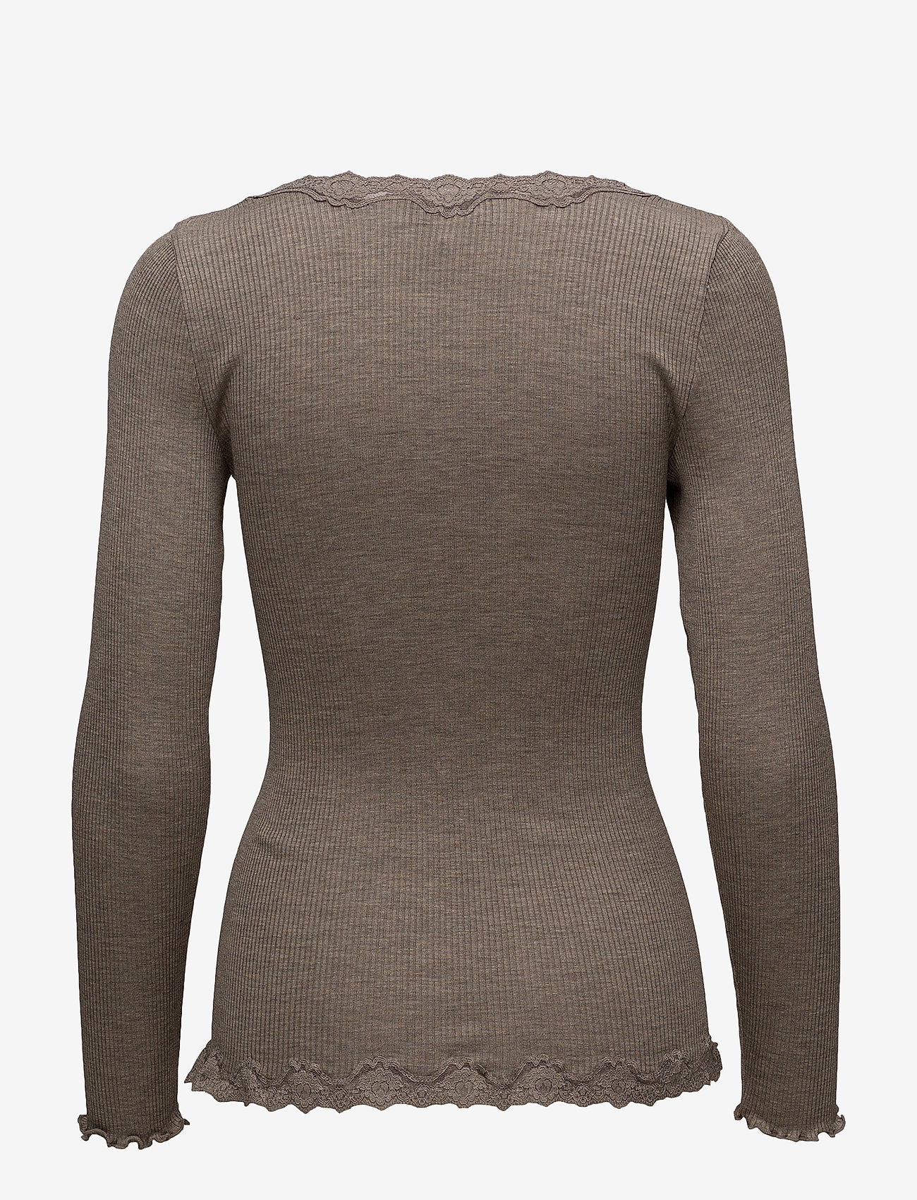 Rosemunde - Silk cardigan regular ls w/rev vint - cardigans - brown melange - 1