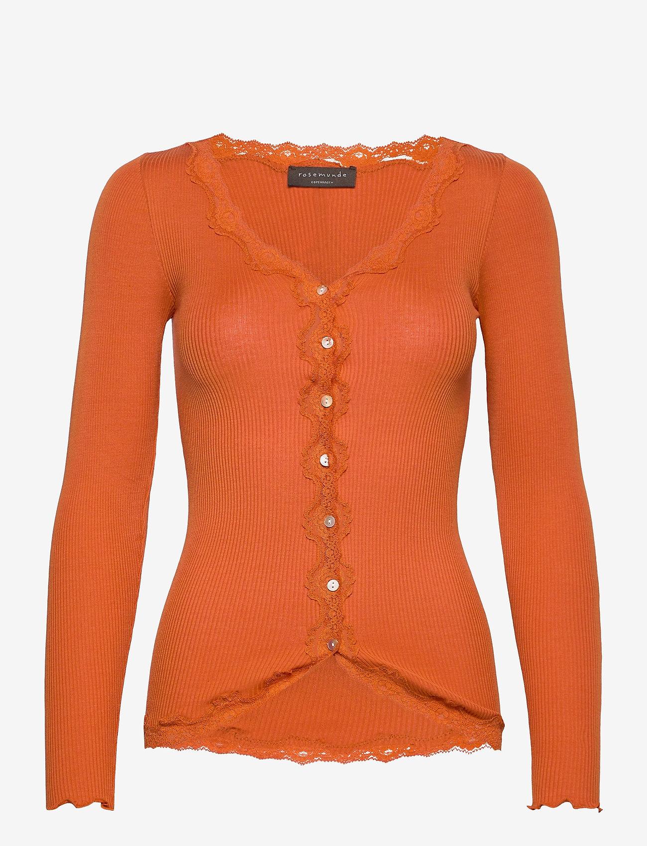 Rosemunde - Silk cardigan ls w/vintage lace - koftor - burnt orange - 0