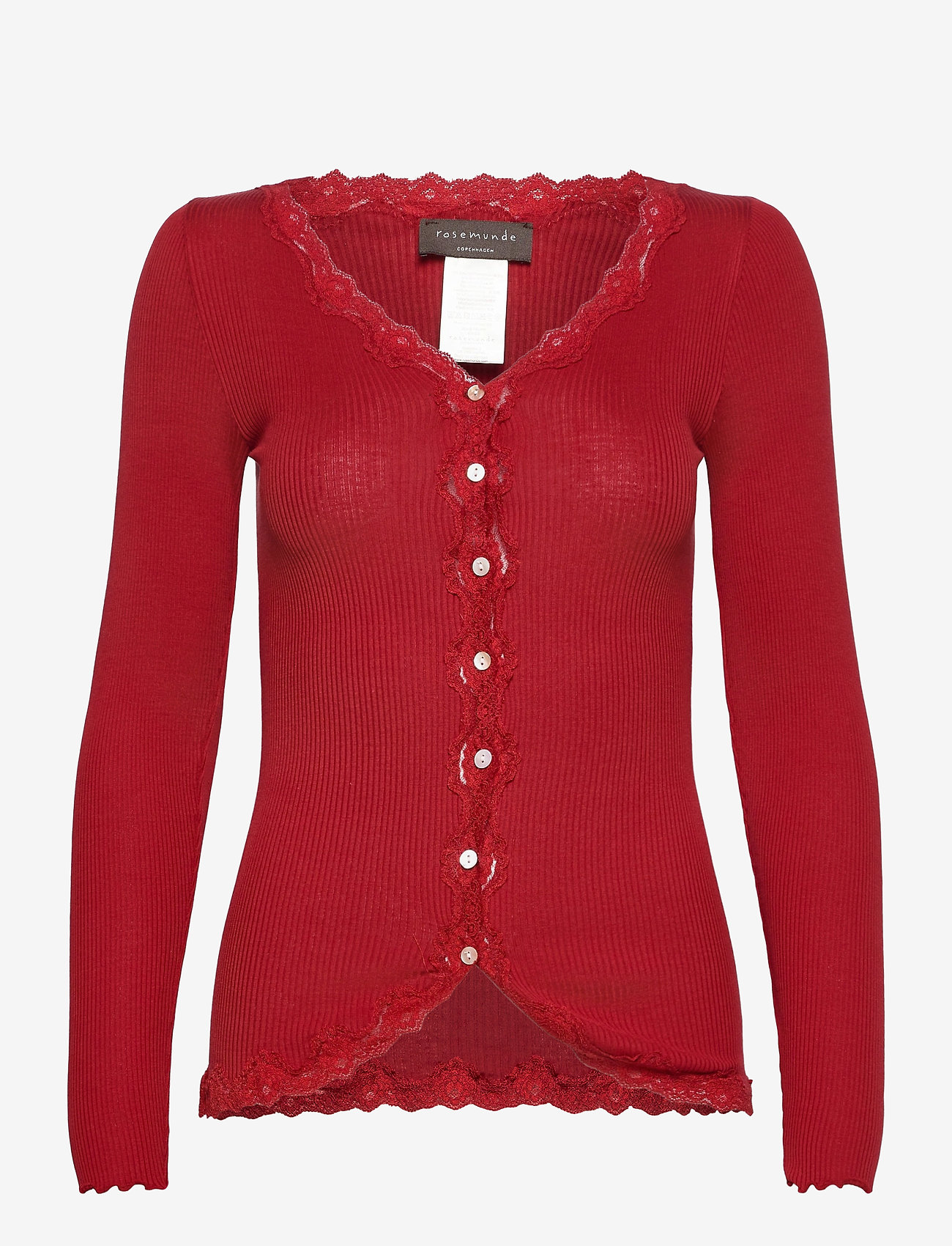 Rosemunde - Silk cardigan ls w/vintage lace - koftor - cranberry - 0