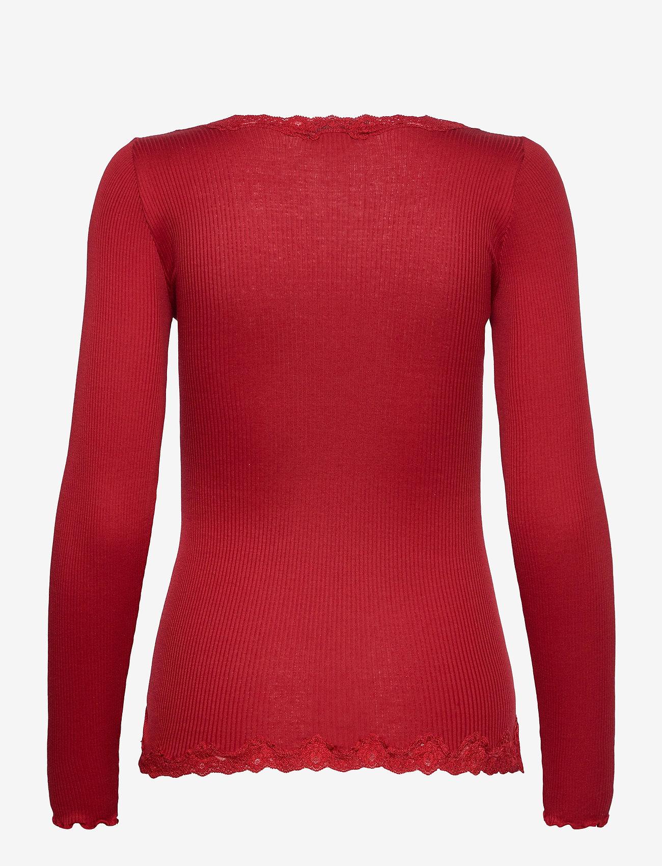 Rosemunde - Silk cardigan ls w/vintage lace - koftor - cranberry - 1