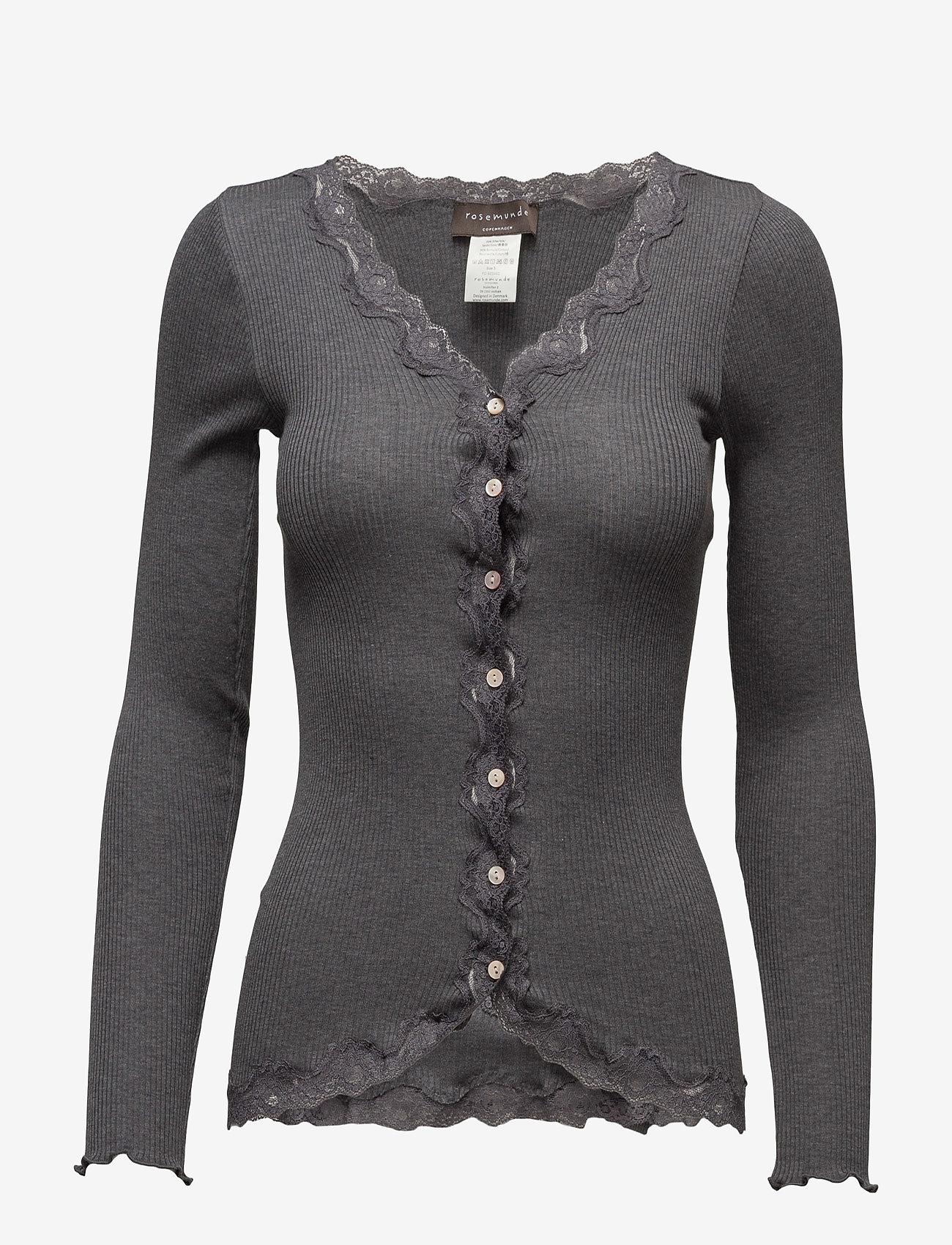 Rosemunde - Silk cardigan regular ls w/rev vint - cardigans - dark grey melange - 1