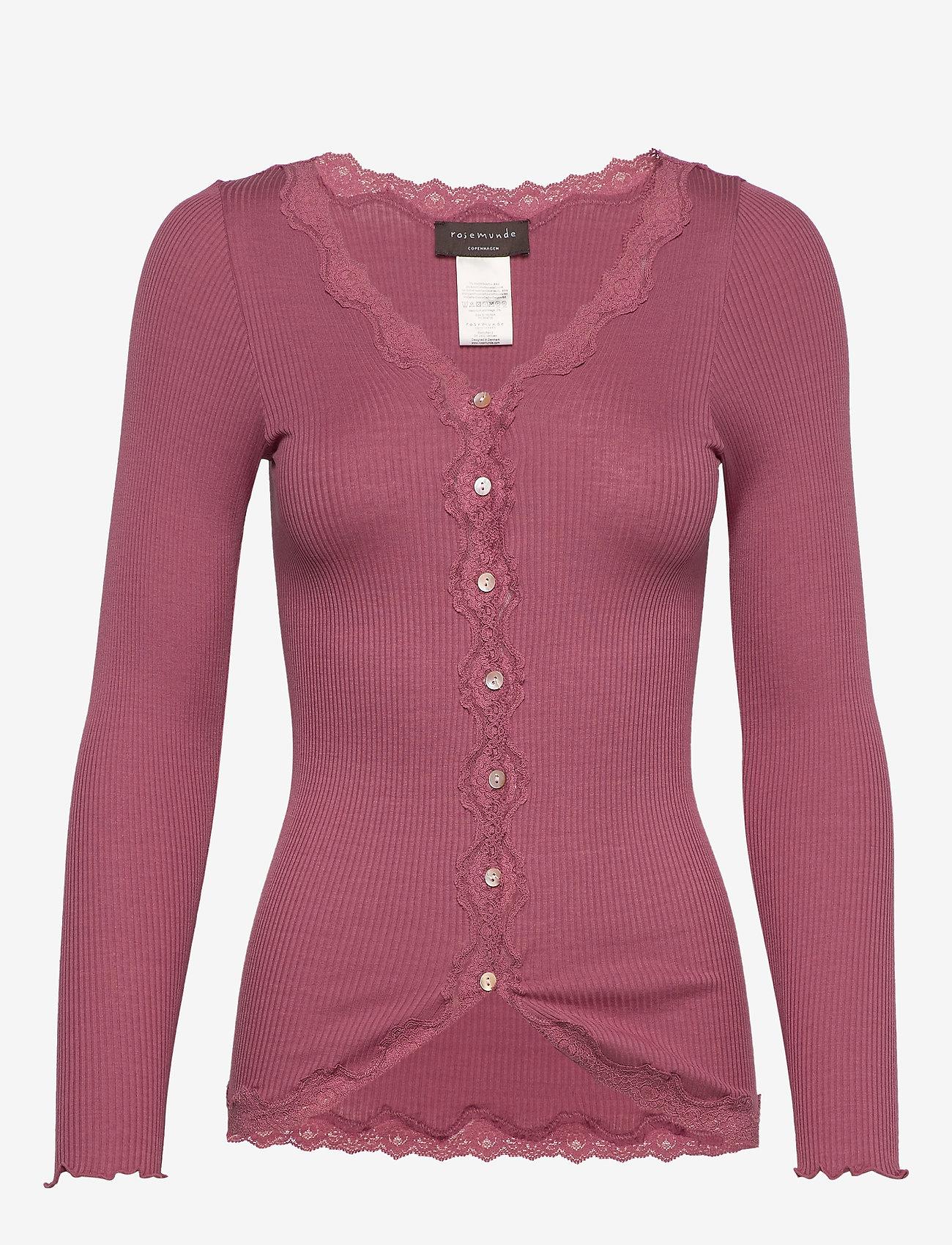 Rosemunde - Silk cardigan regular ls w/rev vint - cardigans - deep rose - 0