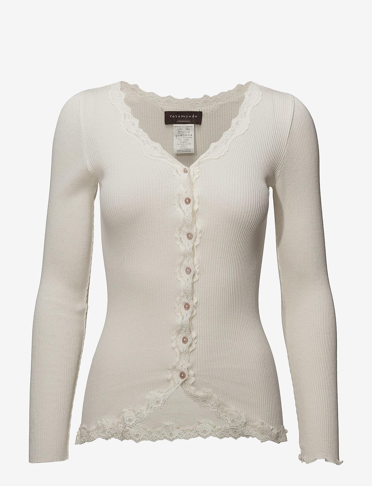 Rosemunde - Silk cardigan regular ls w/rev vint - cardigans - ivory - 0