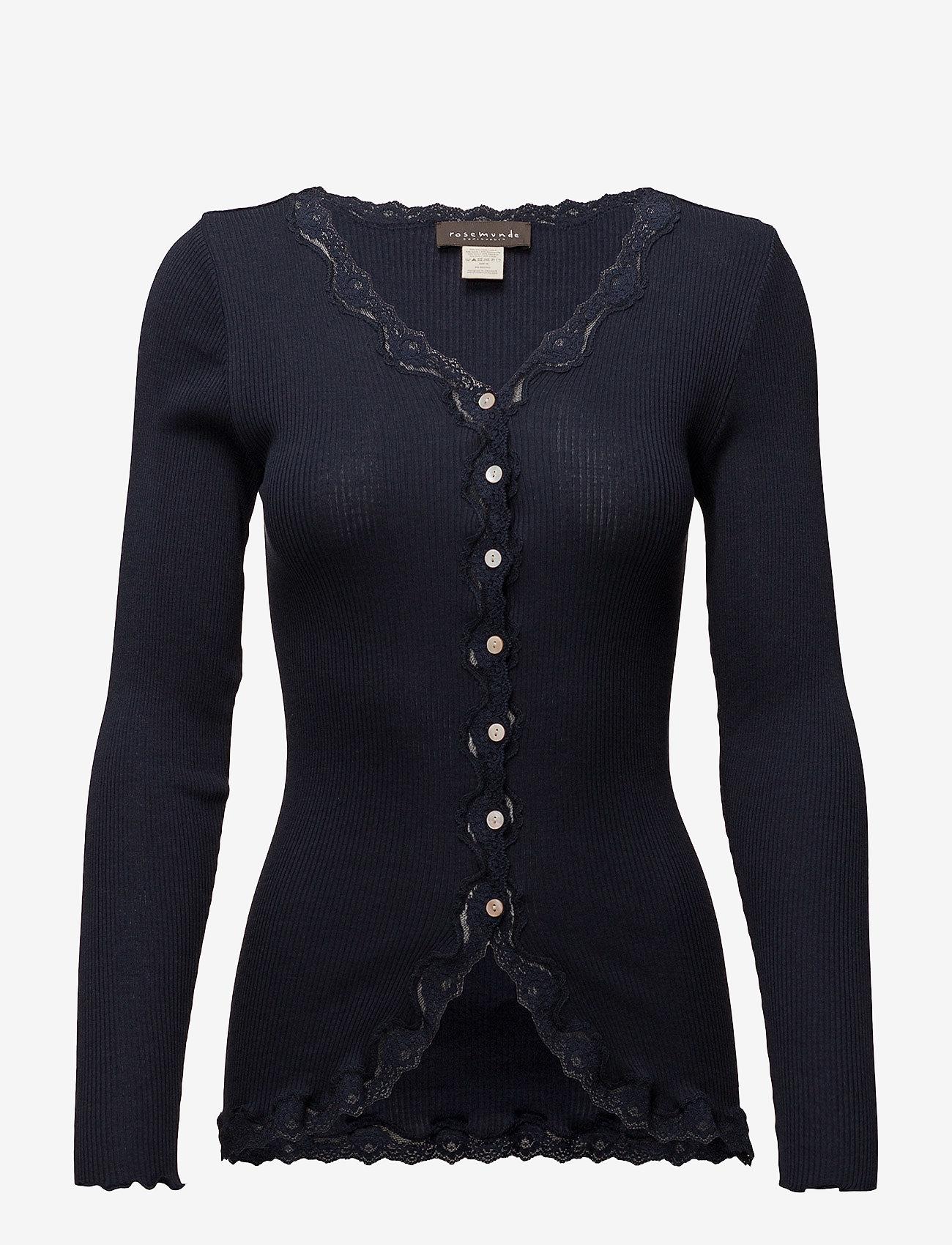 Rosemunde - Silk cardigan regular ls w/rev vint - cardigans - navy - 0