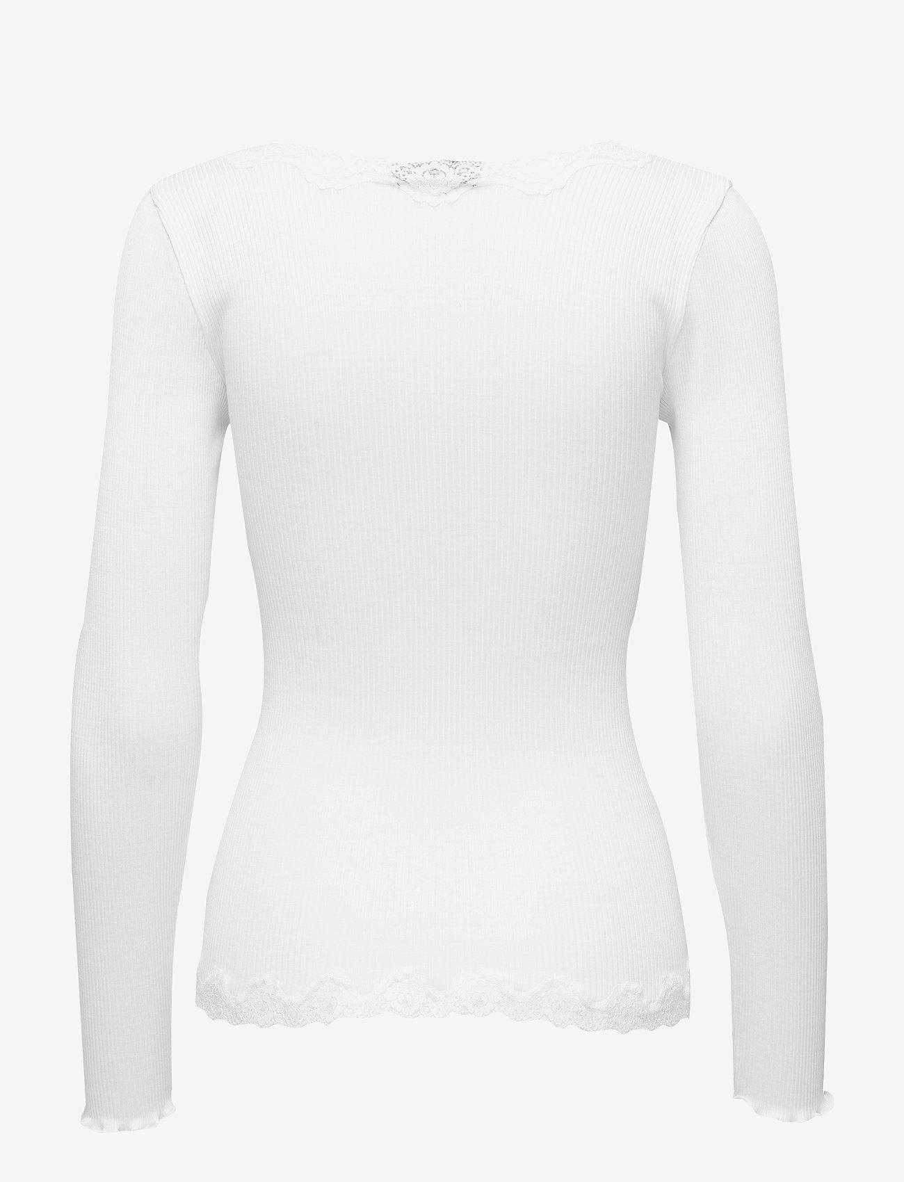 Rosemunde - Silk cardigan ls w/vintage lace - koftor - new white - 1