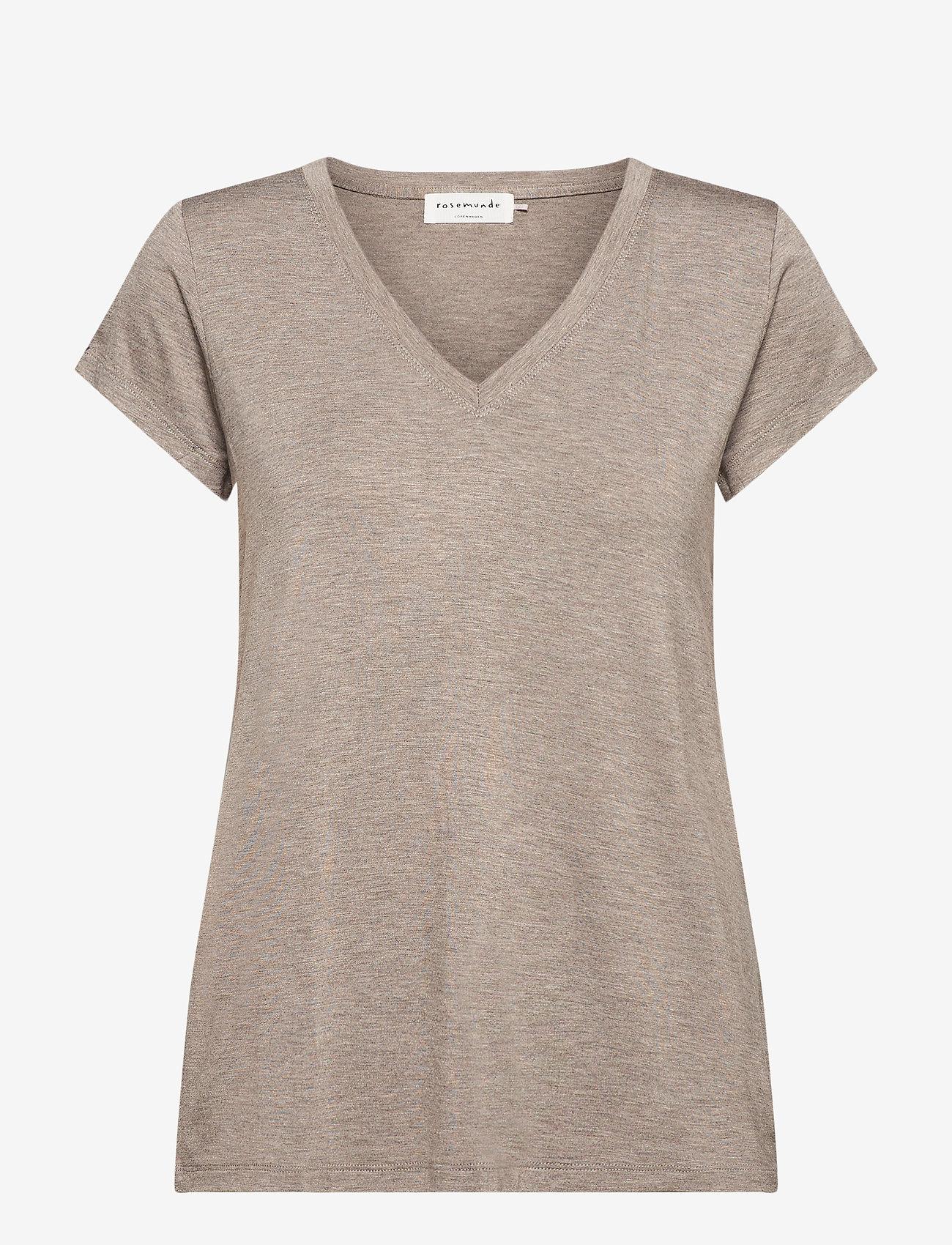 Rosemunde - T-shirt ss - t-shirts - brown melange - 0