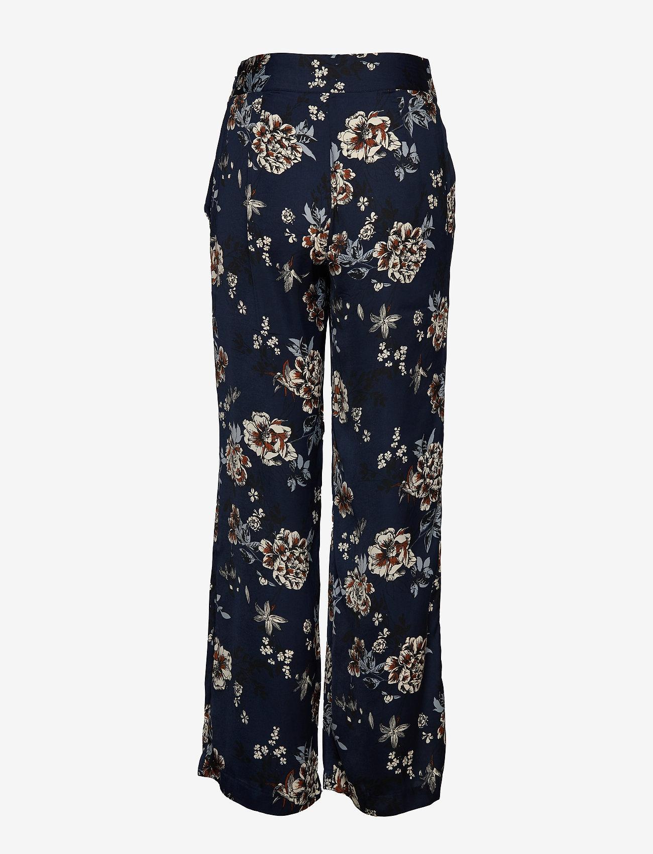 Rosemunde - Trousers - bukser med brede ben - blue blossom print - 1