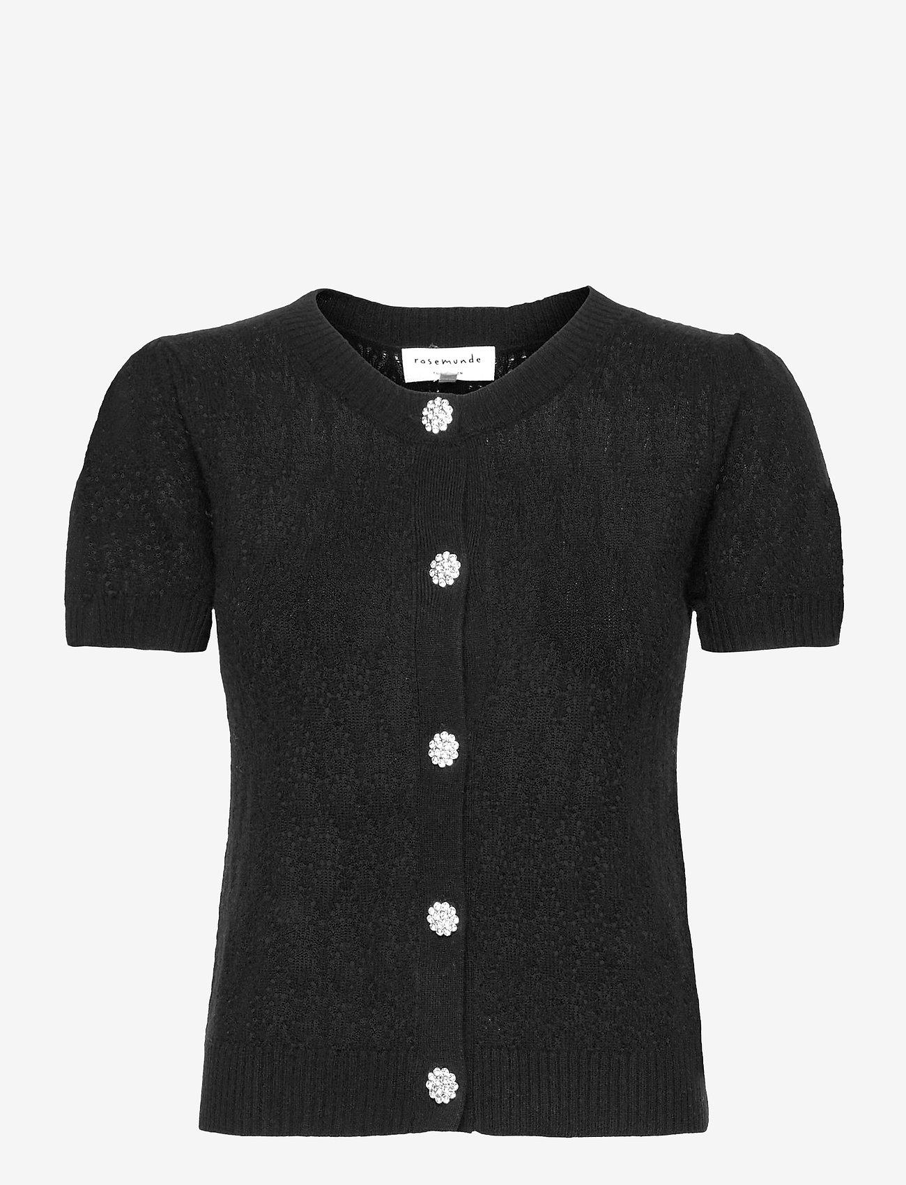 Rosemunde - Wool & cashmere cardigan ss - strikkede toppe - black - 0