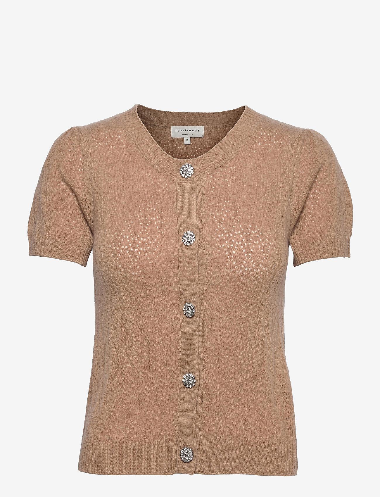 Rosemunde - Wool & cashmere cardigan ss - strikkede toppe - camel melange - 0