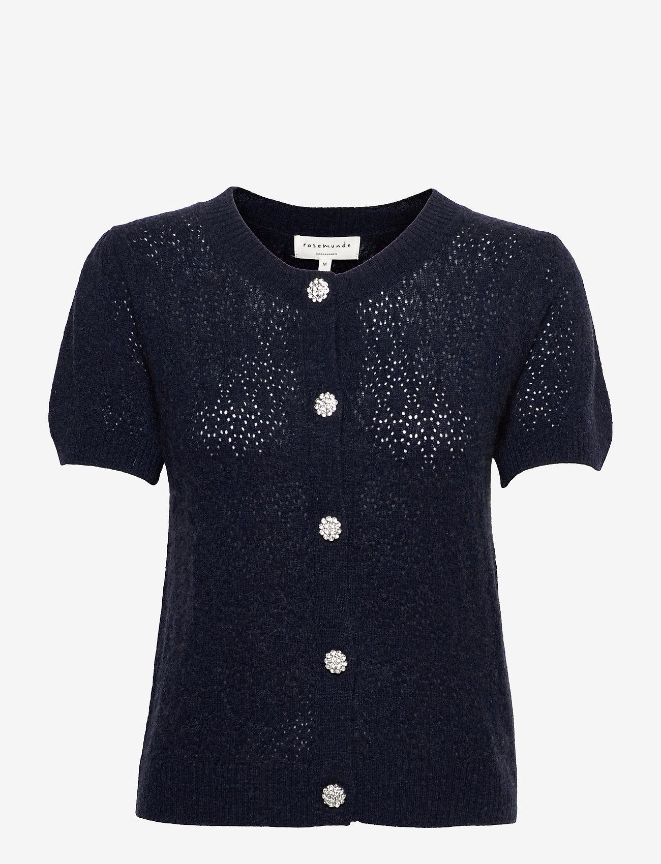 Rosemunde - Wool & cashmere cardigan ss - strikkede toppe - dark navy melange - 0