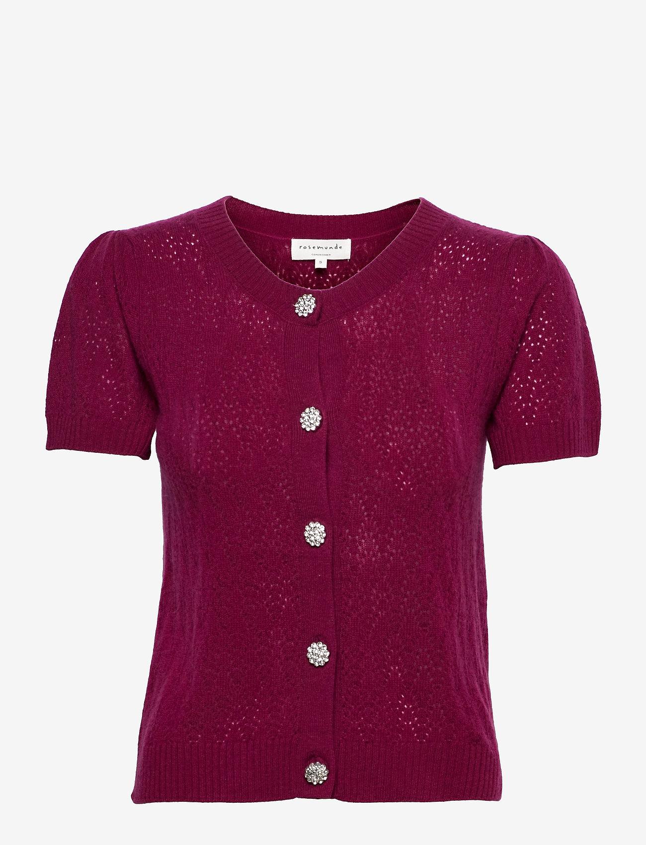Rosemunde - Wool & cashmere cardigan ss - strikkede toppe - fuchsia rose - 0