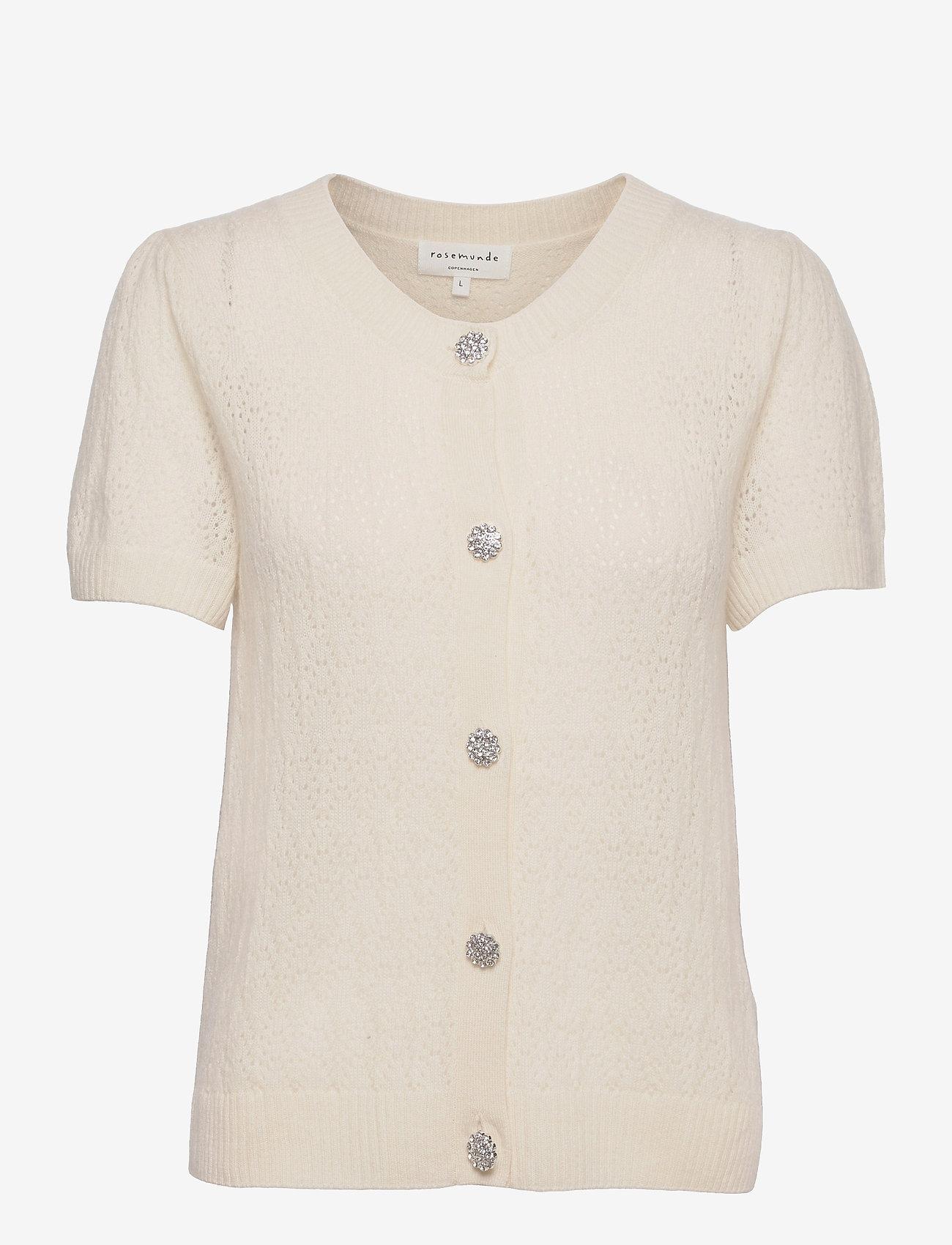 Rosemunde - Wool & cashmere cardigan ss - strikkede toppe - ivory - 0
