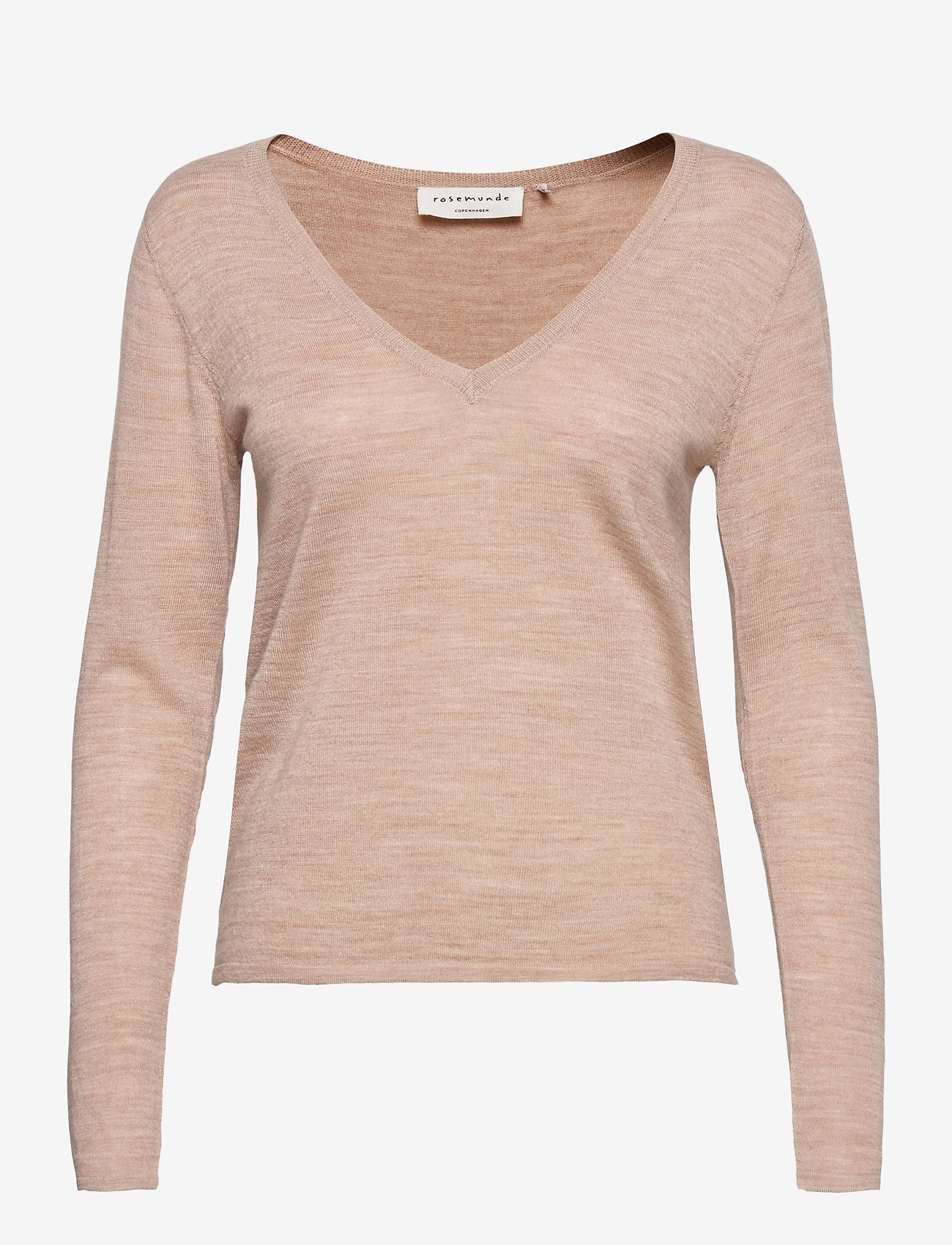 Rosemunde - Merino pullover ls - tröjor - beige melange - 0